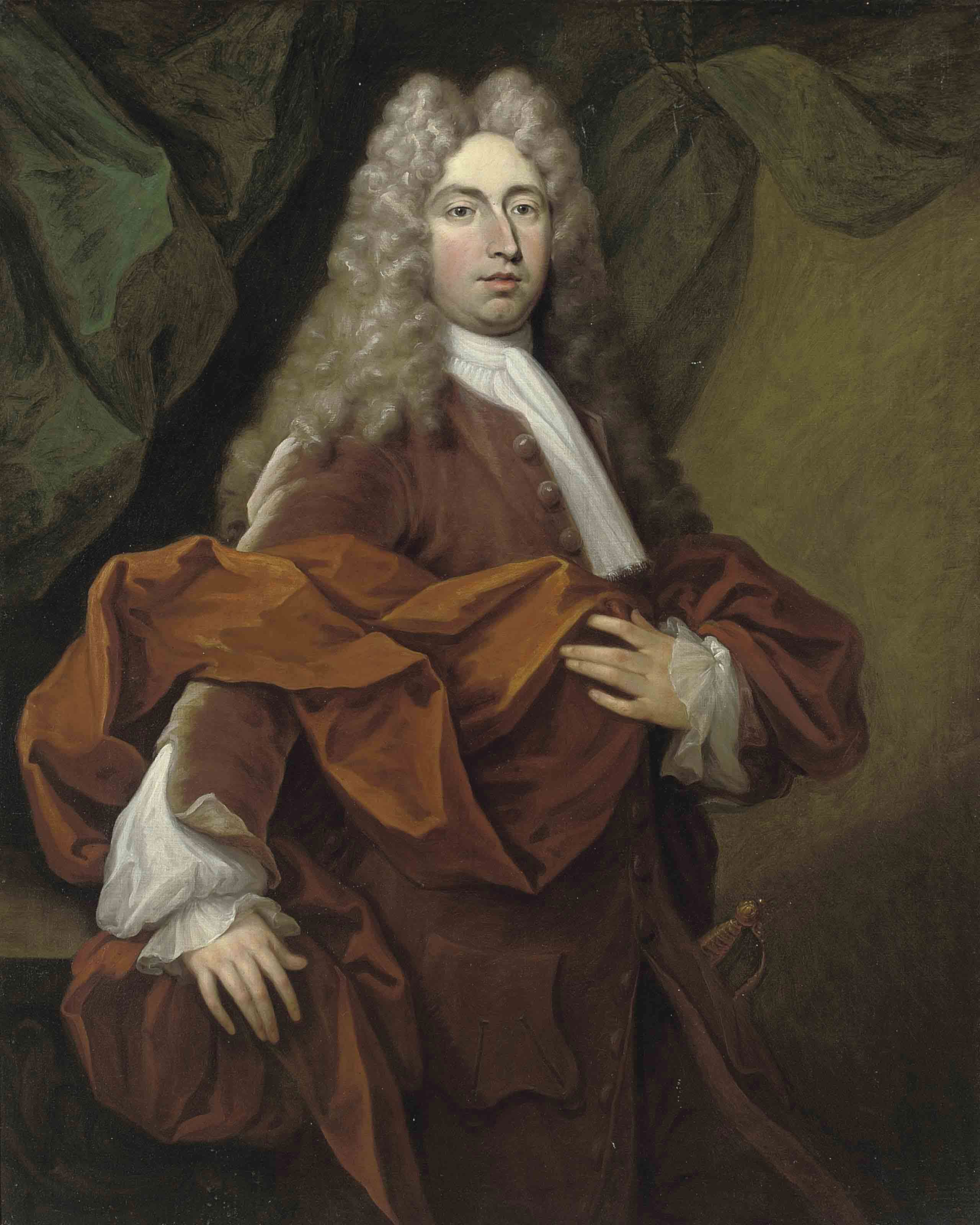 Portrait of a gentleman, three-quarter-length, in a red coat and orange wrap, his right hand resting on a ledge