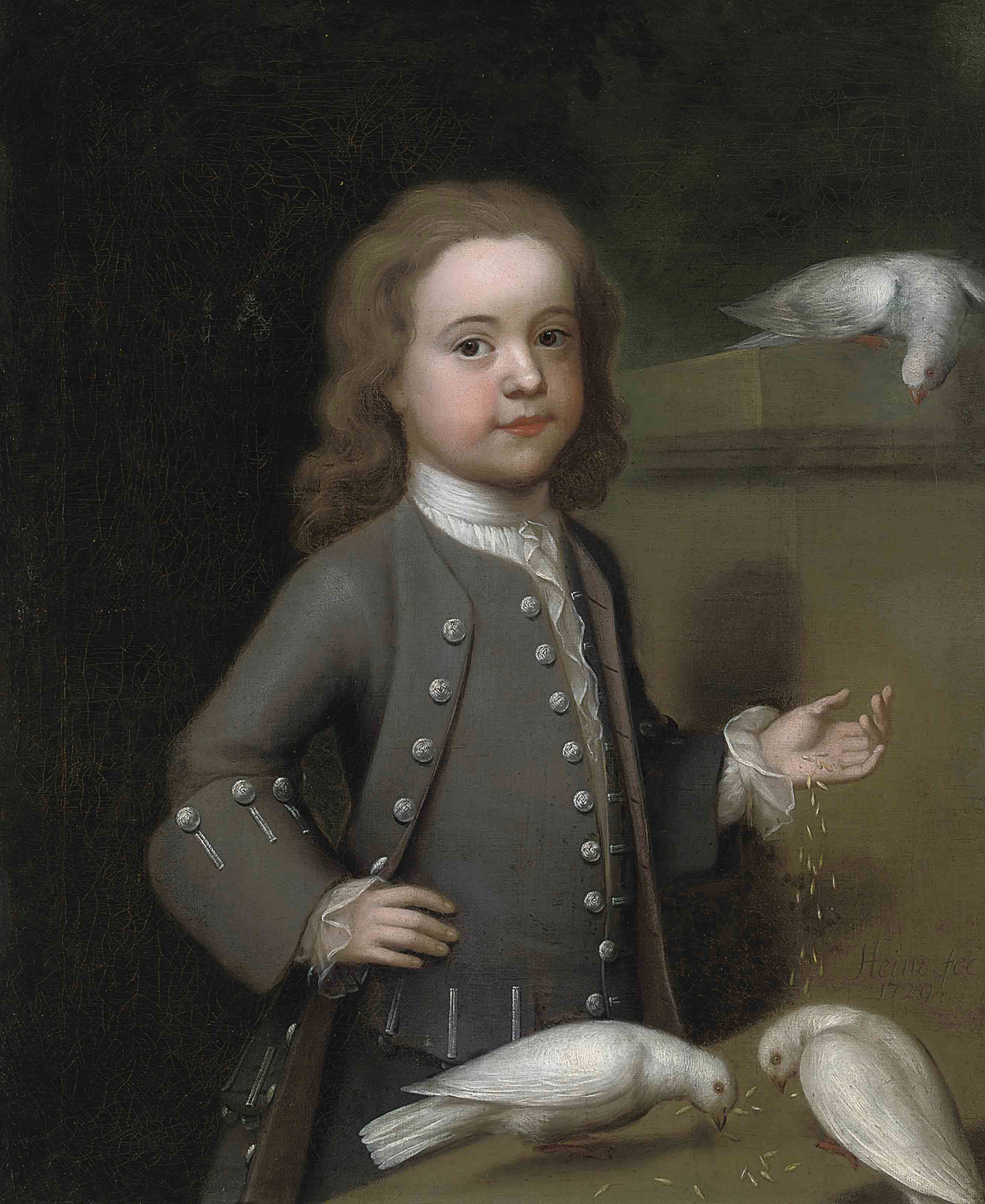 Portrait of Master Harry Spark Patterson (1725-1764), three-quarter-length, in a grey coat, feeding three doves on a ledge