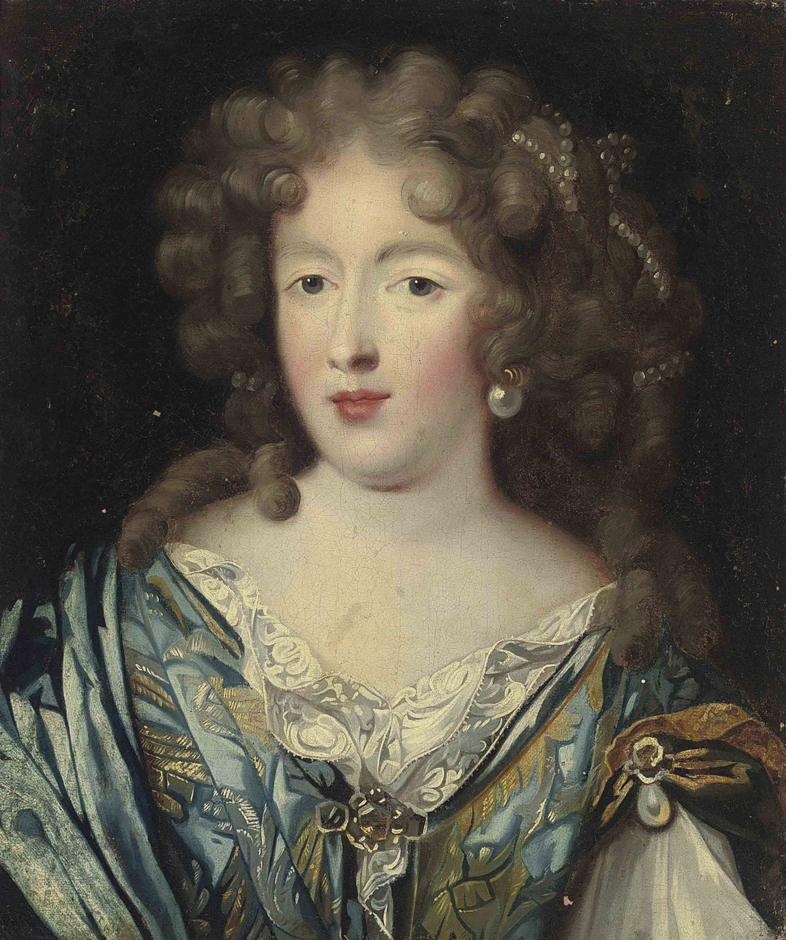 Portrait of a lady, bust-length, in a blue and gold dress, with pearl ornaments in her hair