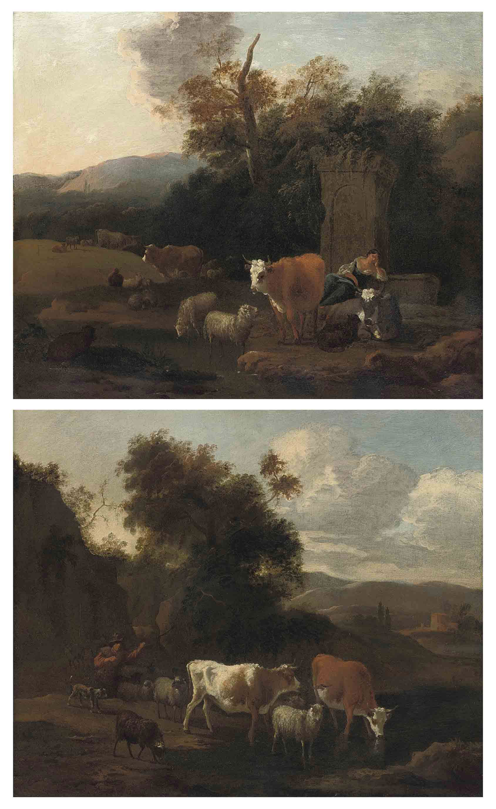 A wooded landscape with a drover and her cattle at rest by classical ruins; and A wooded river landscape with a drover and his cattle watering