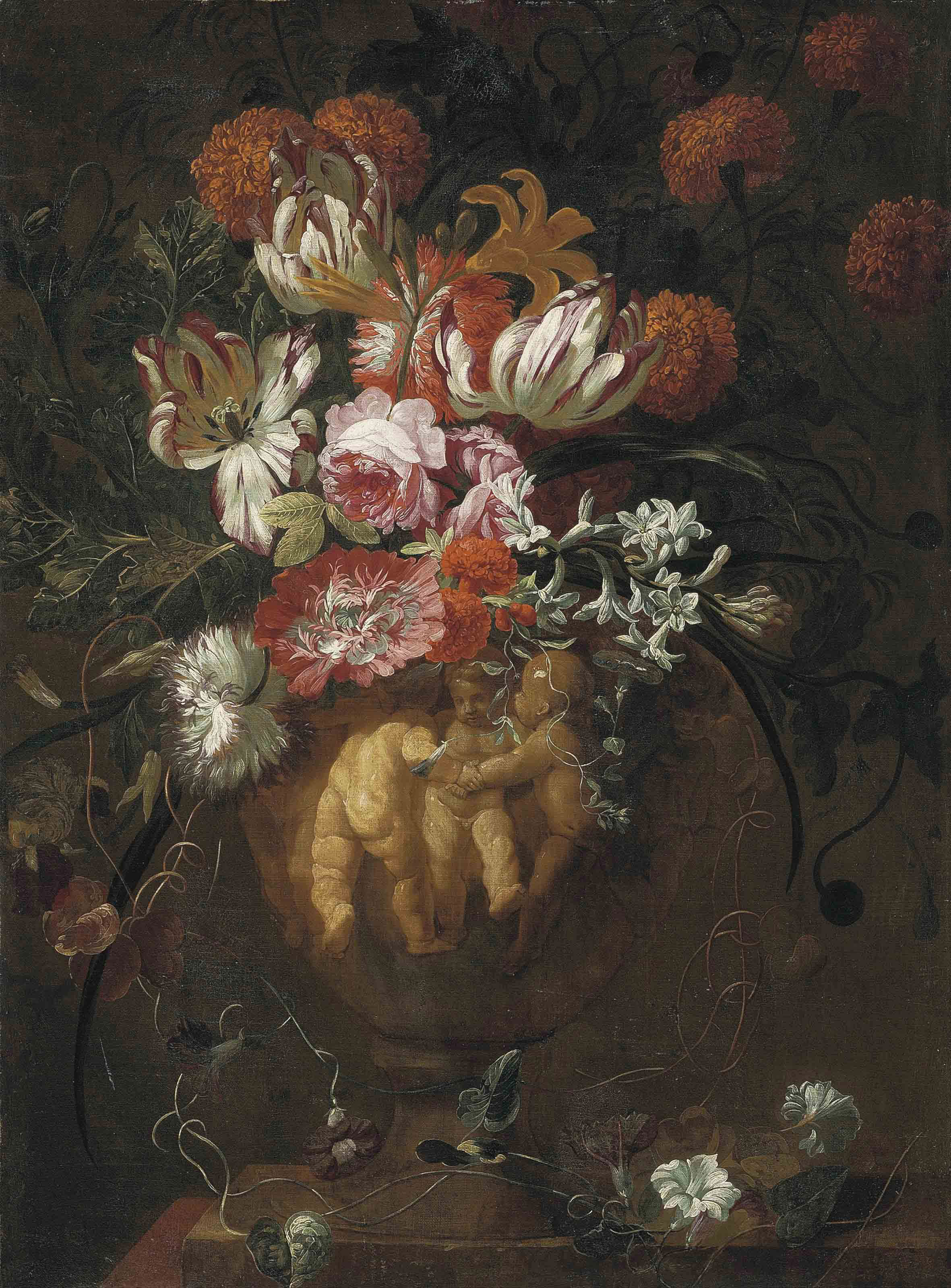 Roses, tulips and other flowers in a sculpted urn with putti in relief, on a ledge