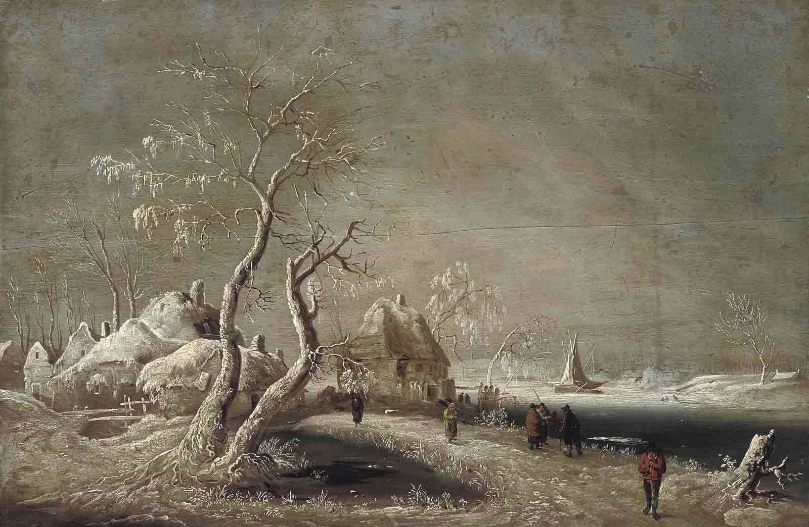 A winter river landscape with figures on a track
