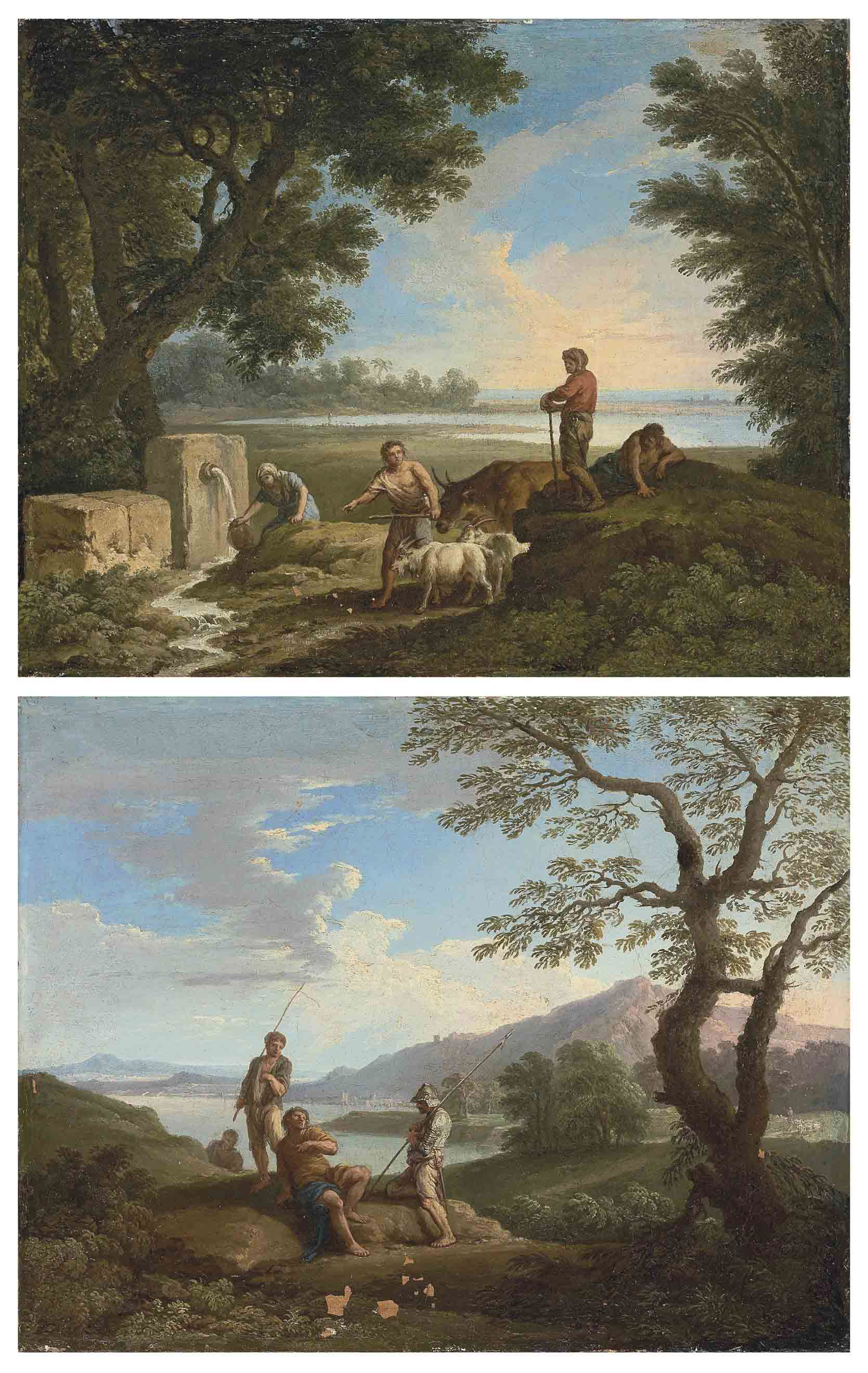 A pastoral landscape, with a woman at a well, goatherds and the sea beyond; and A coastal landscape with bandits accosting a traveller