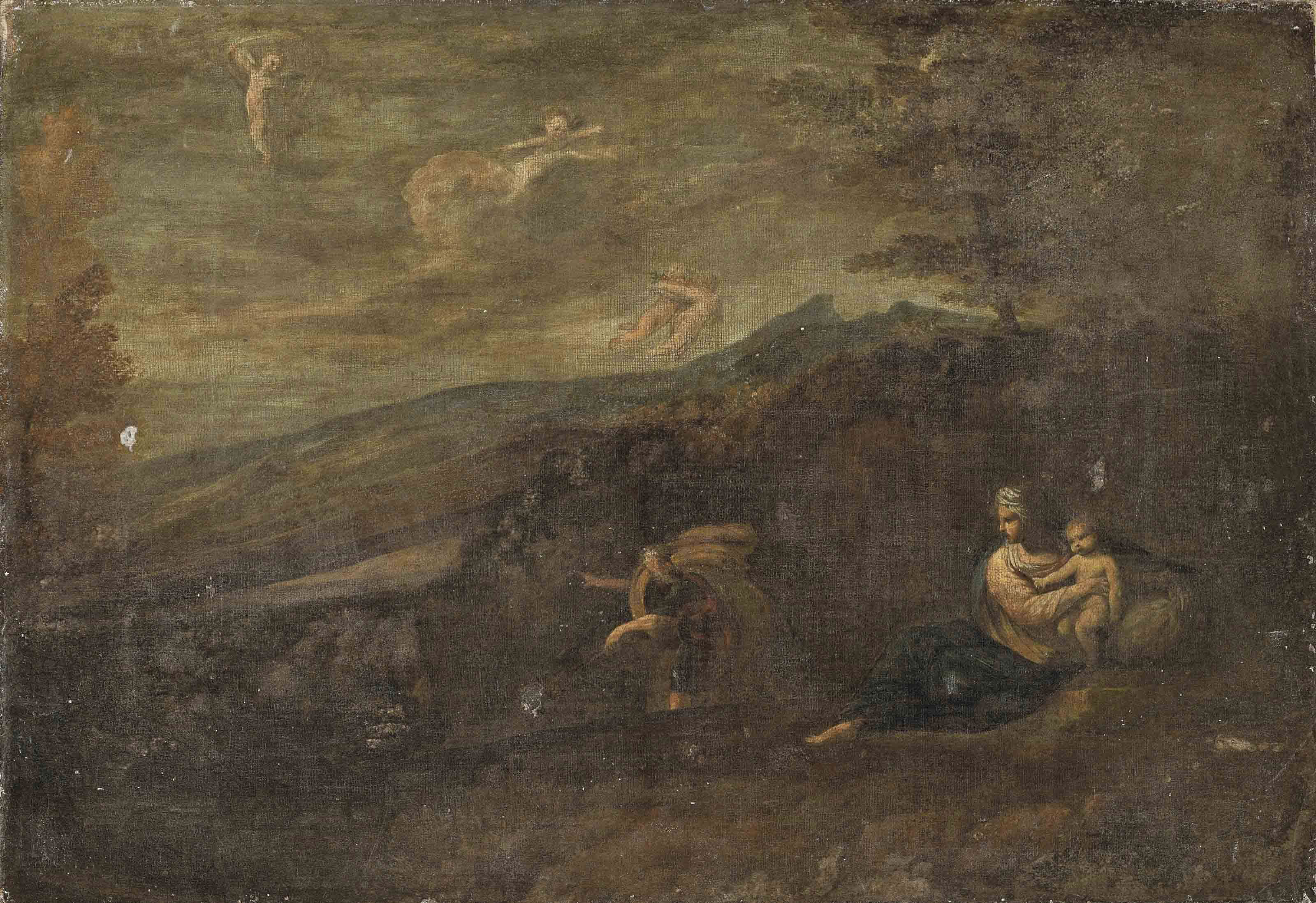 A wooded landscape with the Rest on the Flight to Egypt