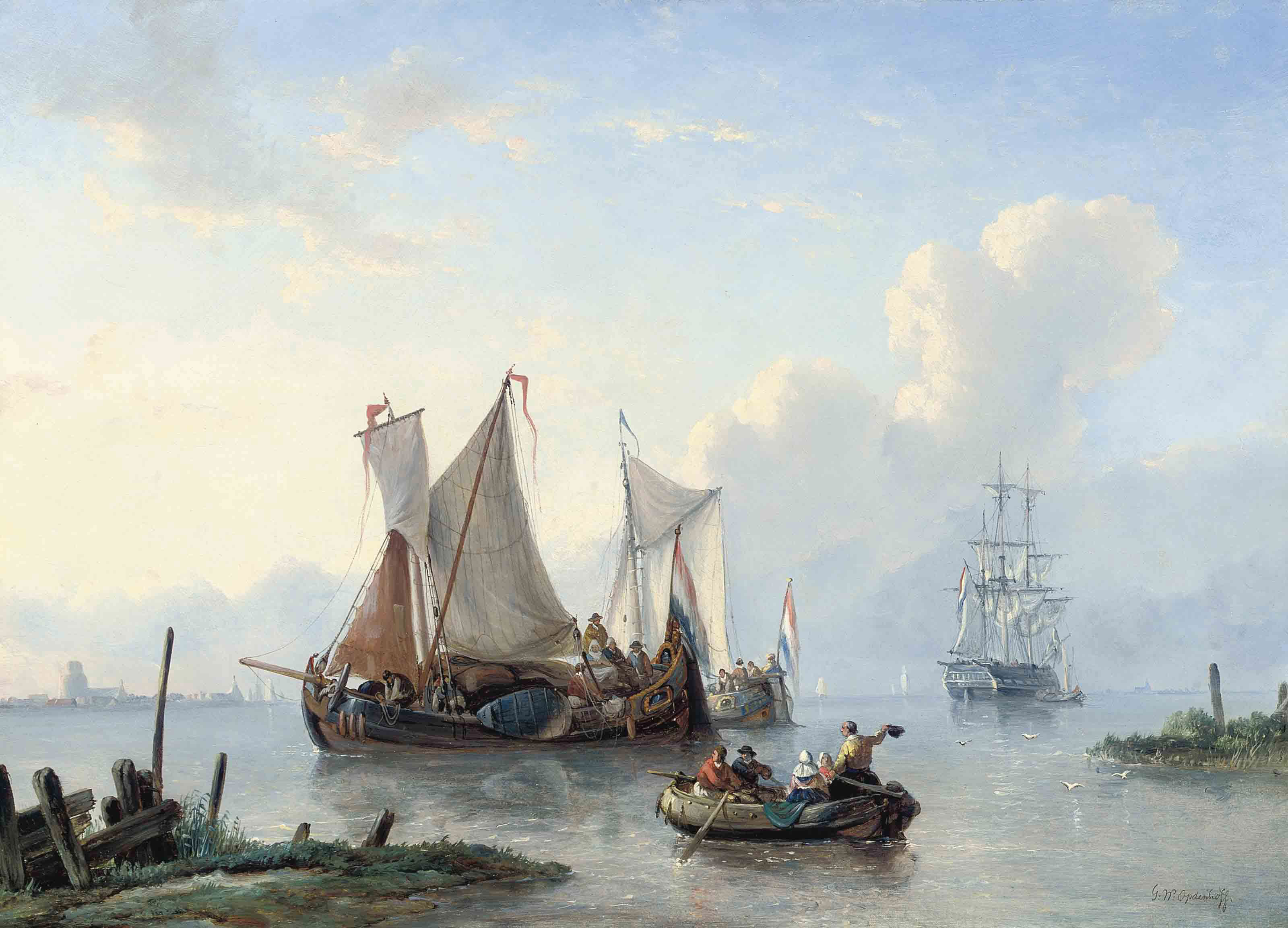 Dutch vessels at the mouth of a river