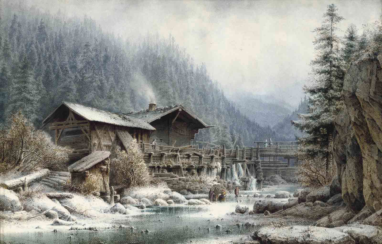 Figures on a frozen river before a Bavarian chalet