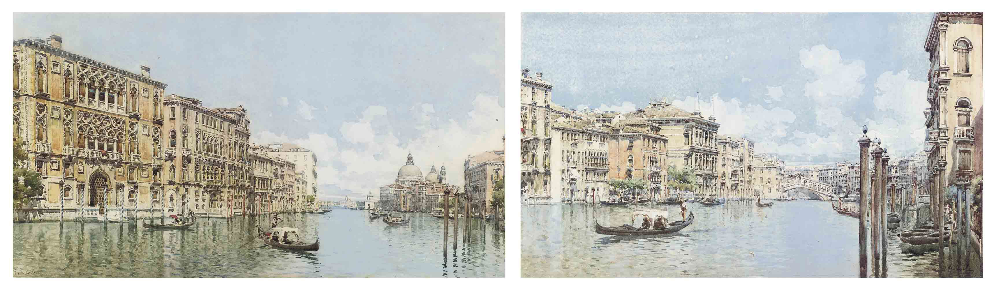 Gondolas on the Grand Canal before Santa Maria della Salute; and On the Grand Canel before the Rialto bridge, Venice