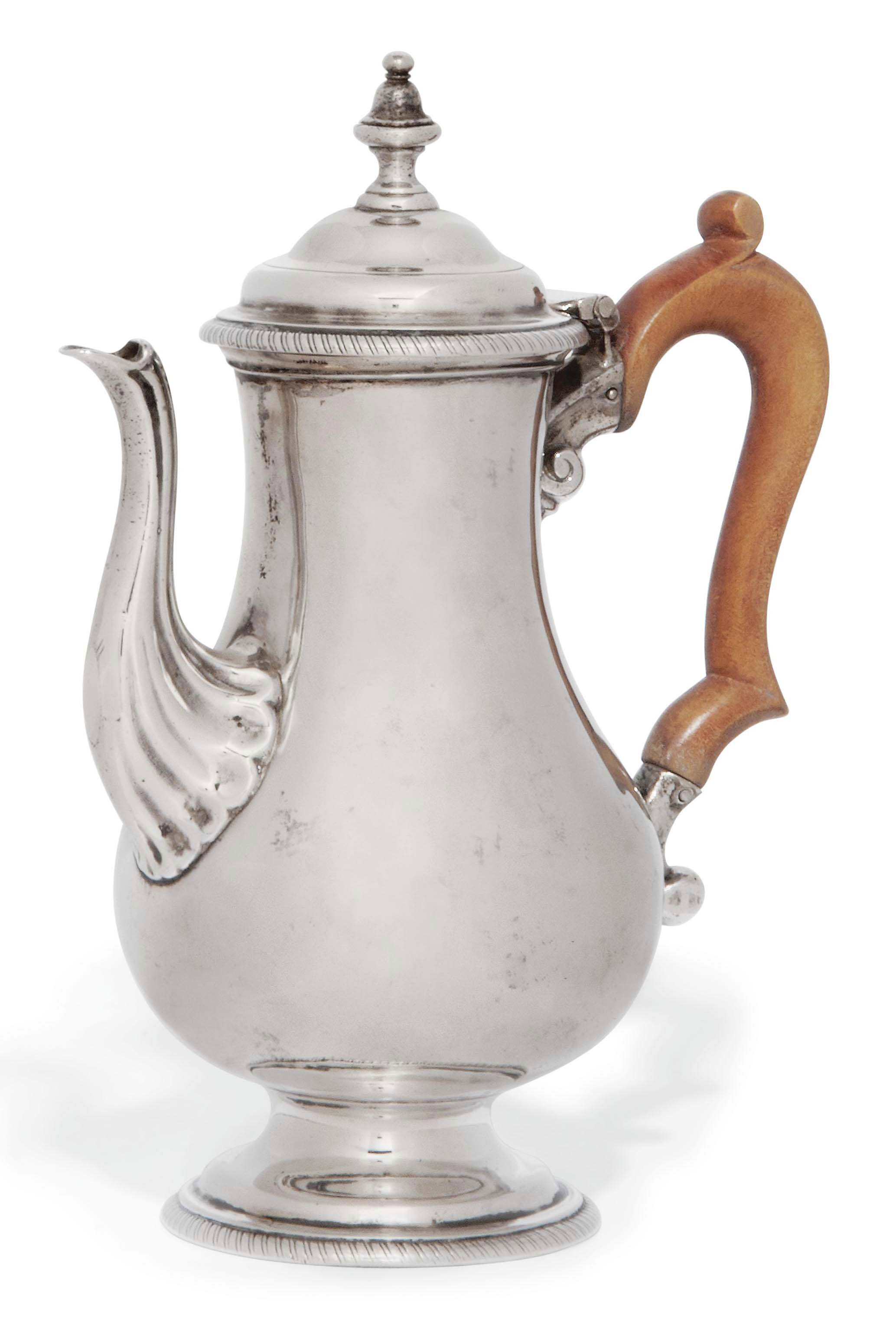 A SMALL GEORGE III SILVER COFFEE POT