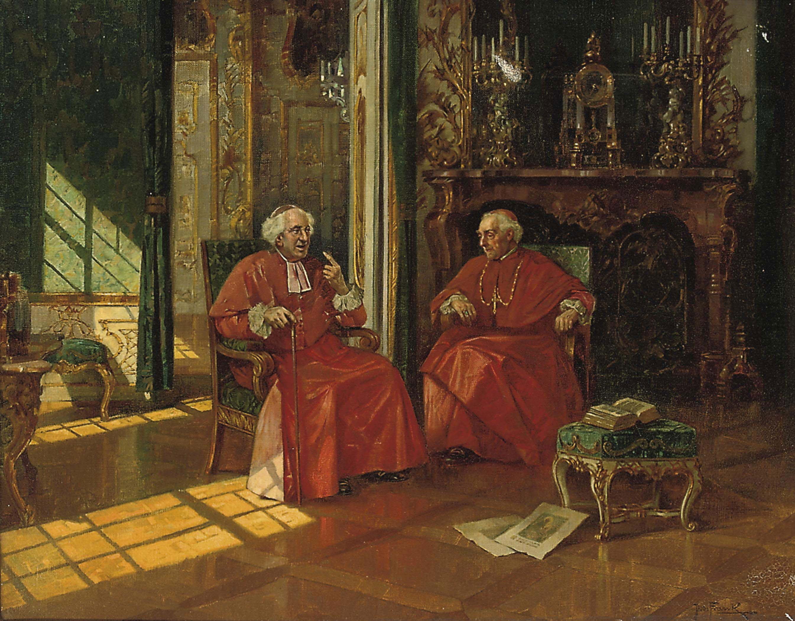 Two cardinals in a sunlit interior