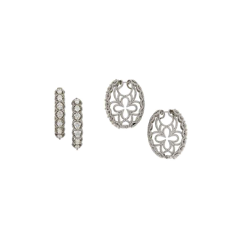 A ATTRACTIVE PAIR OF DIAMOND AND TITANIUM EAR PENDANTS, BY ANNA HU