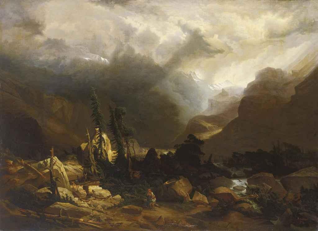 L'éboulement, um 1841 (Bergsturz an der Grimsel)