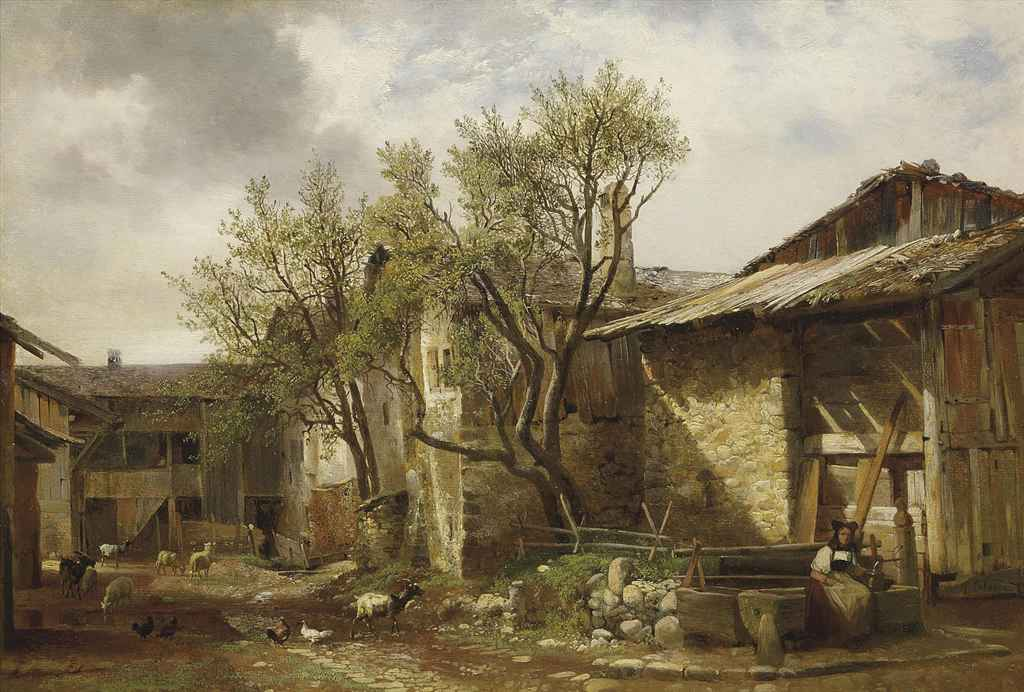 Ferme avec paysanne et animaux, 1833-36