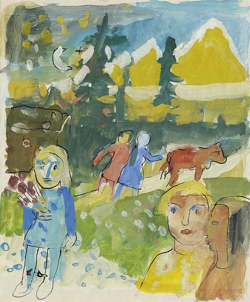 Studie zu 'Alles blüht', 1929 verso: Skizze zu Mädchenkopf