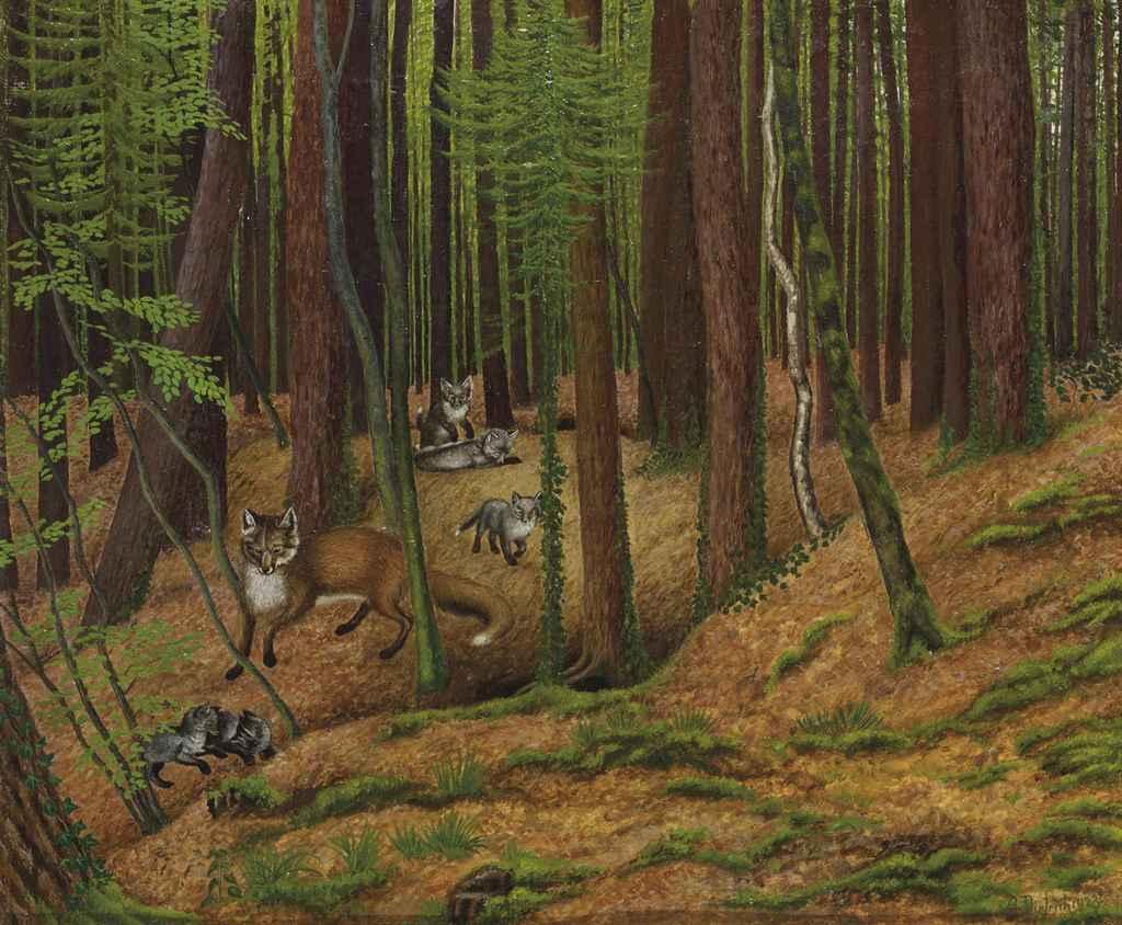 Fuchsfamilie im Wald, 1923