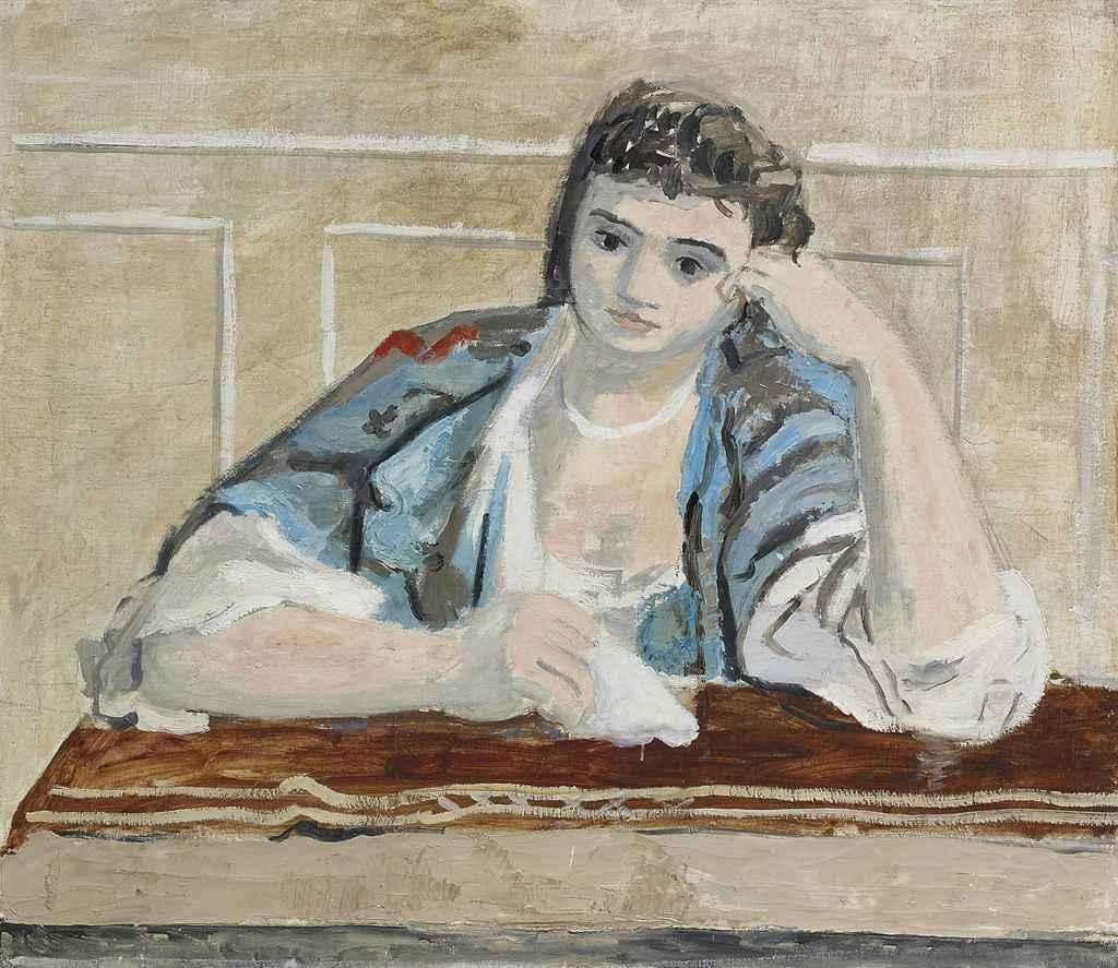 Mädchen mit aufgestütztem Kopf, um 1928/29