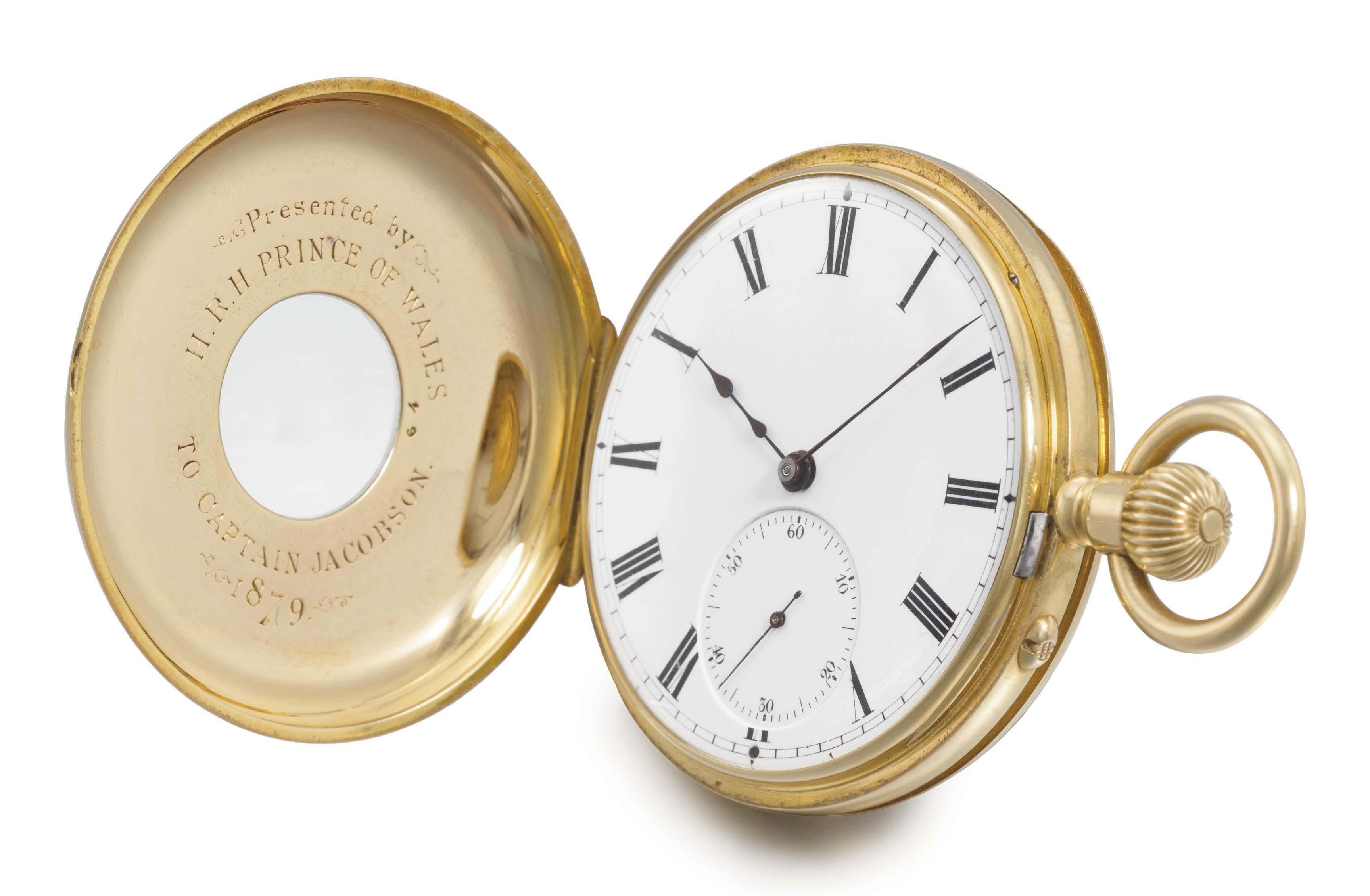 Klaftenberger. A fine 18K gold half hunter case keyless lever Royal Presentation watch with original box