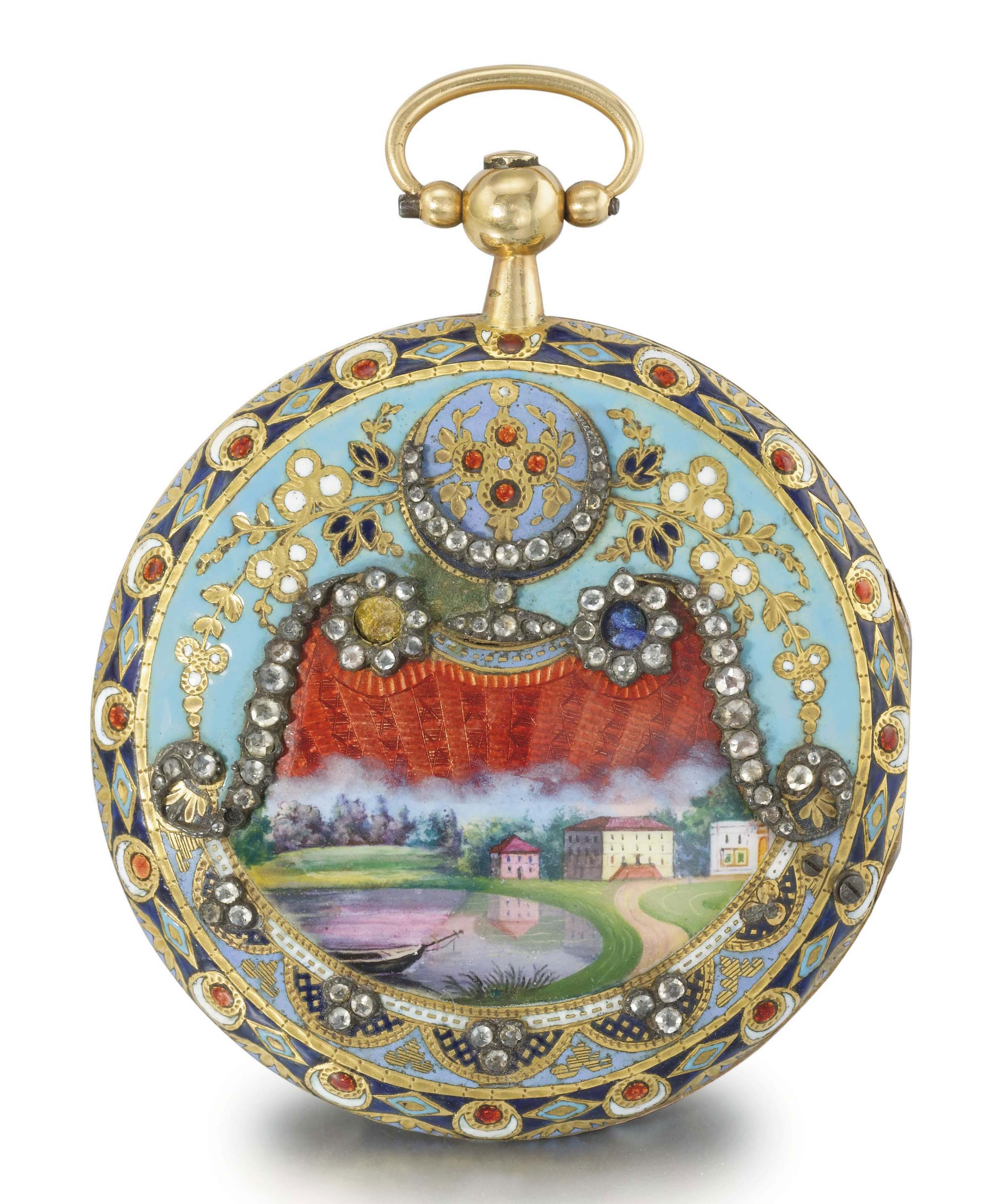 Le Roy. A fine and attractive gilt brass, enamel and diamond-set openface verge watch, made for the Turkish market