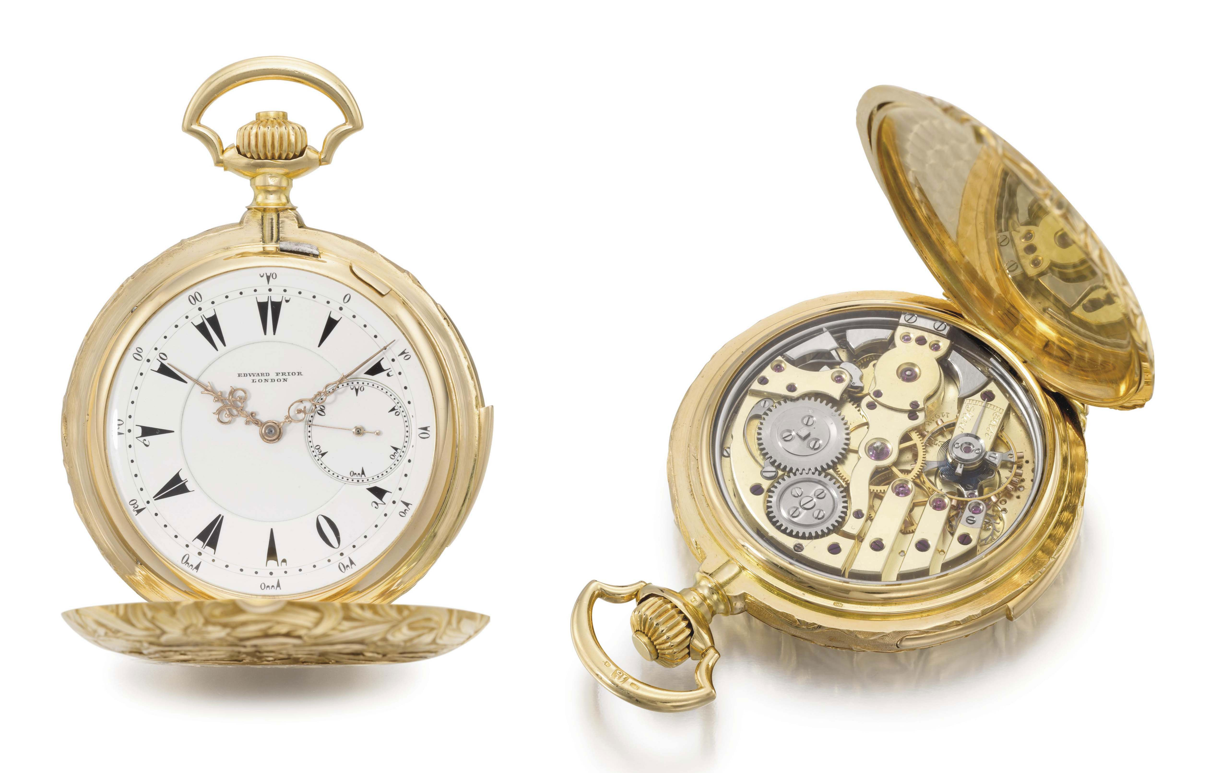 Constant Piguet, made for Edward Prior. A very fine, rare and heavy 18K gold hunter case minute repeating keyless lever watch with Piguet's patented Westminster Carillon chime on four hammers, made for the Turkish Market