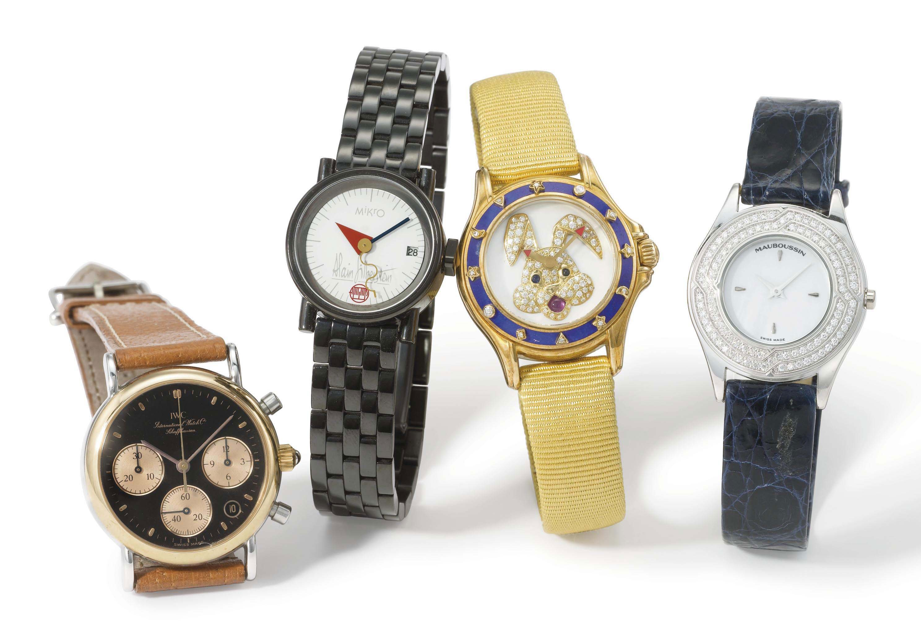 IWC, Silberstein and Mauboussin. A lot of four lady's stainless steel, ceramic, 18K yellow and white gold wristwatches