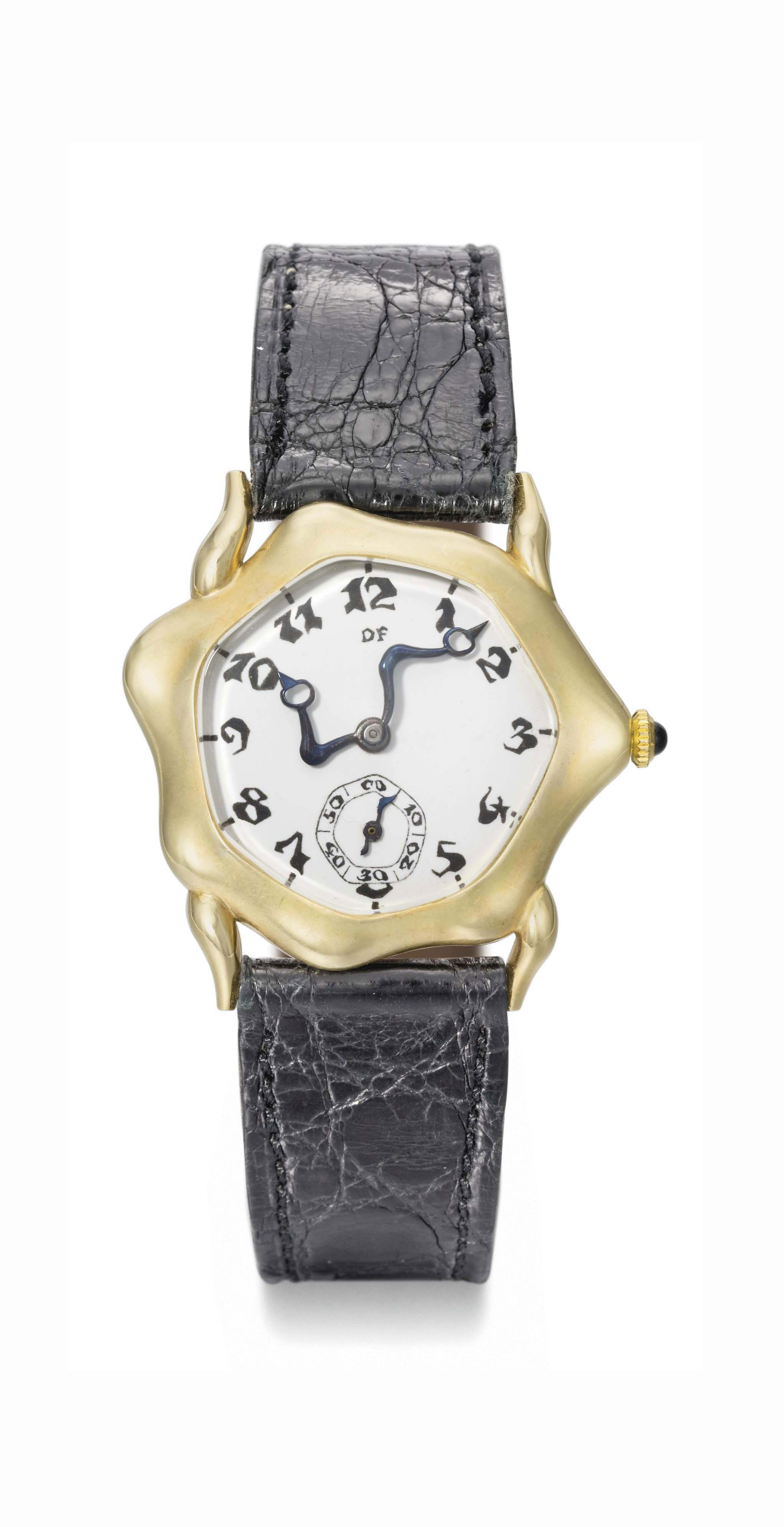 Falcone. An extremely rare 18K gold asymmetrical wristwatch with enamel dial