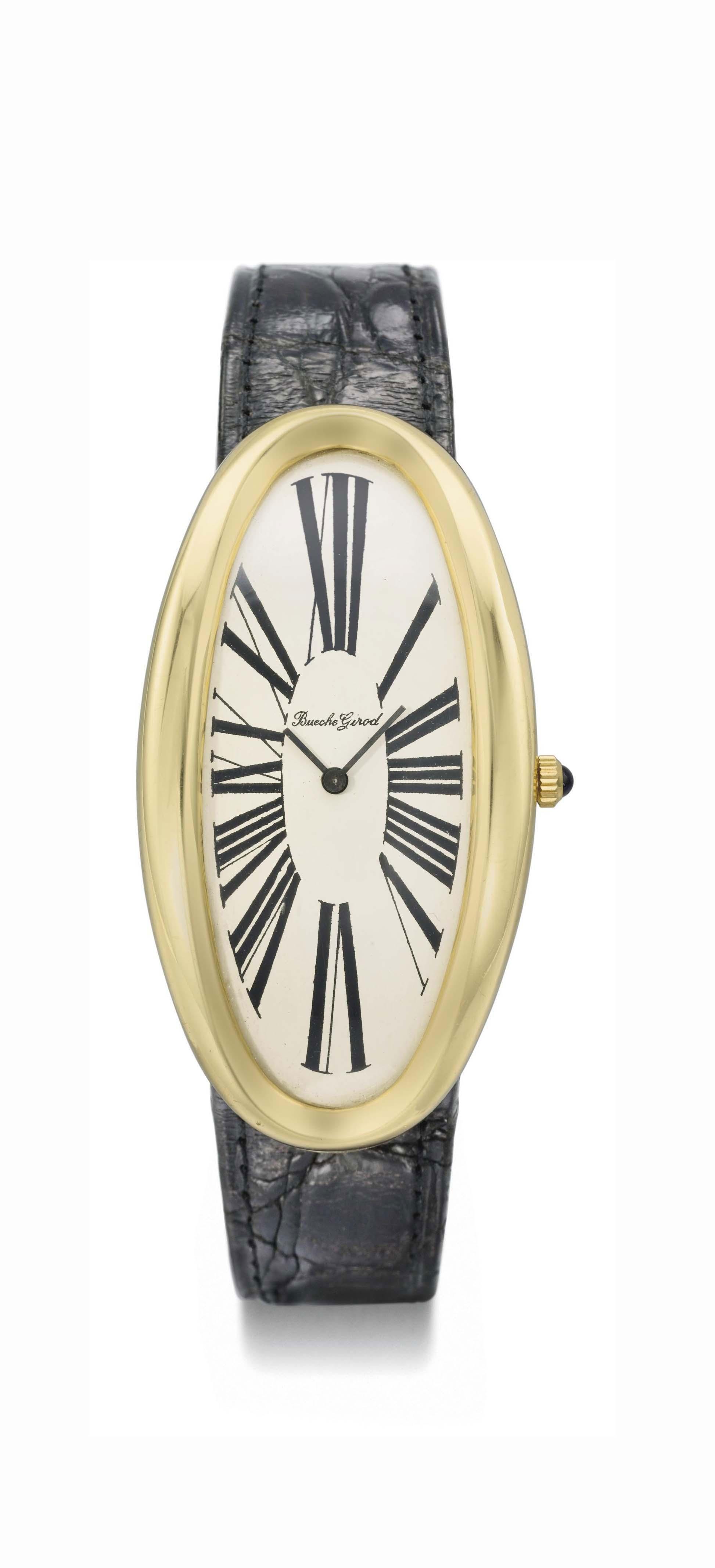 Bueche Girod. An unusual oversized 18K gold oval curved wristwatch