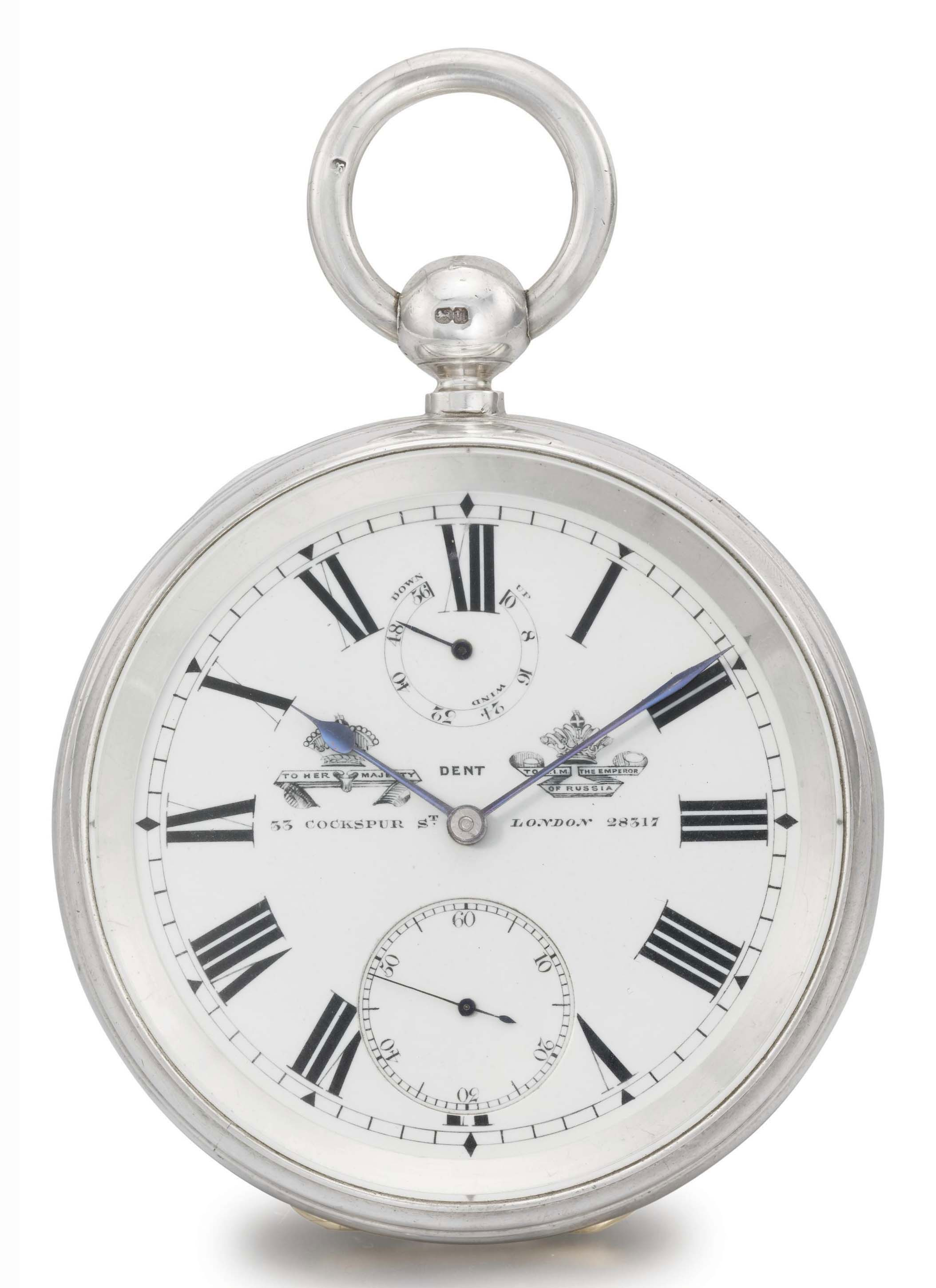 Dent. A fine and rare silver two-day openface pocket chronometer watch with power reserve