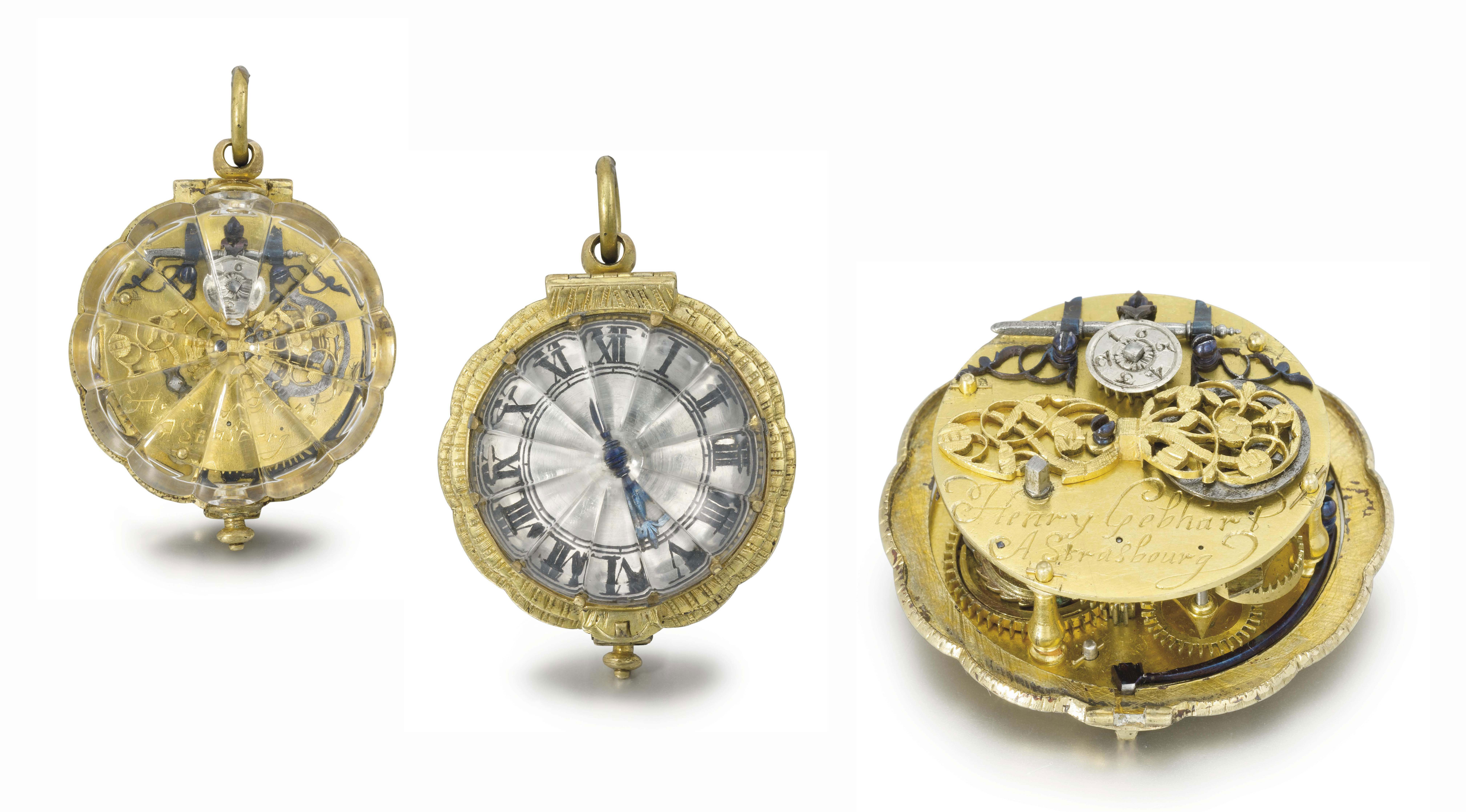 Henry Gebhart. A rare and early gilt-metal and rock crystal per-balance spring verge watch