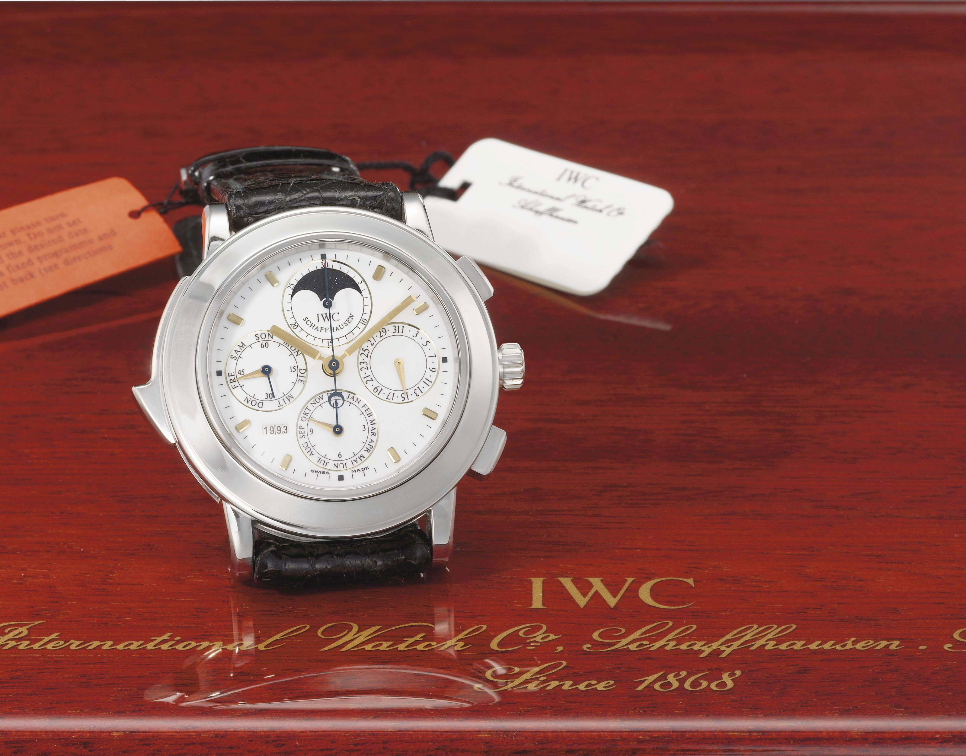 IWC. A fine and rare oversized platinum limited edition automatic perpetual calendar minute repeating chronograph wristwatch with moon phases