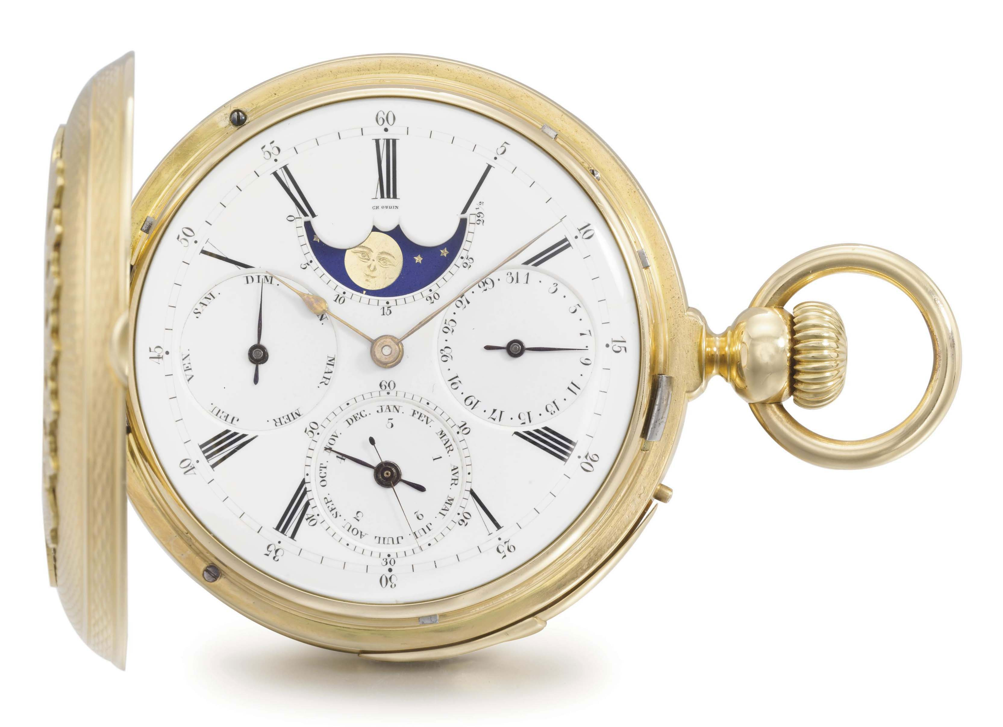 Louis Audemars, made for Charles Oudin. A very fine and heavy 18K gold hunter case quarter repeating full calendar keyless lever watch with moon phases