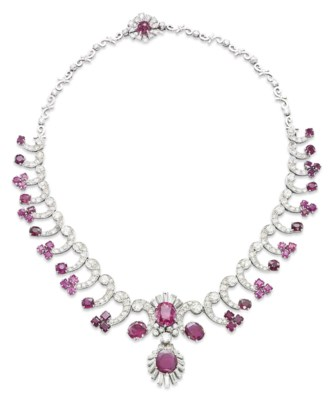 A RUBY, PINK SAPPHIRE AND DIAM