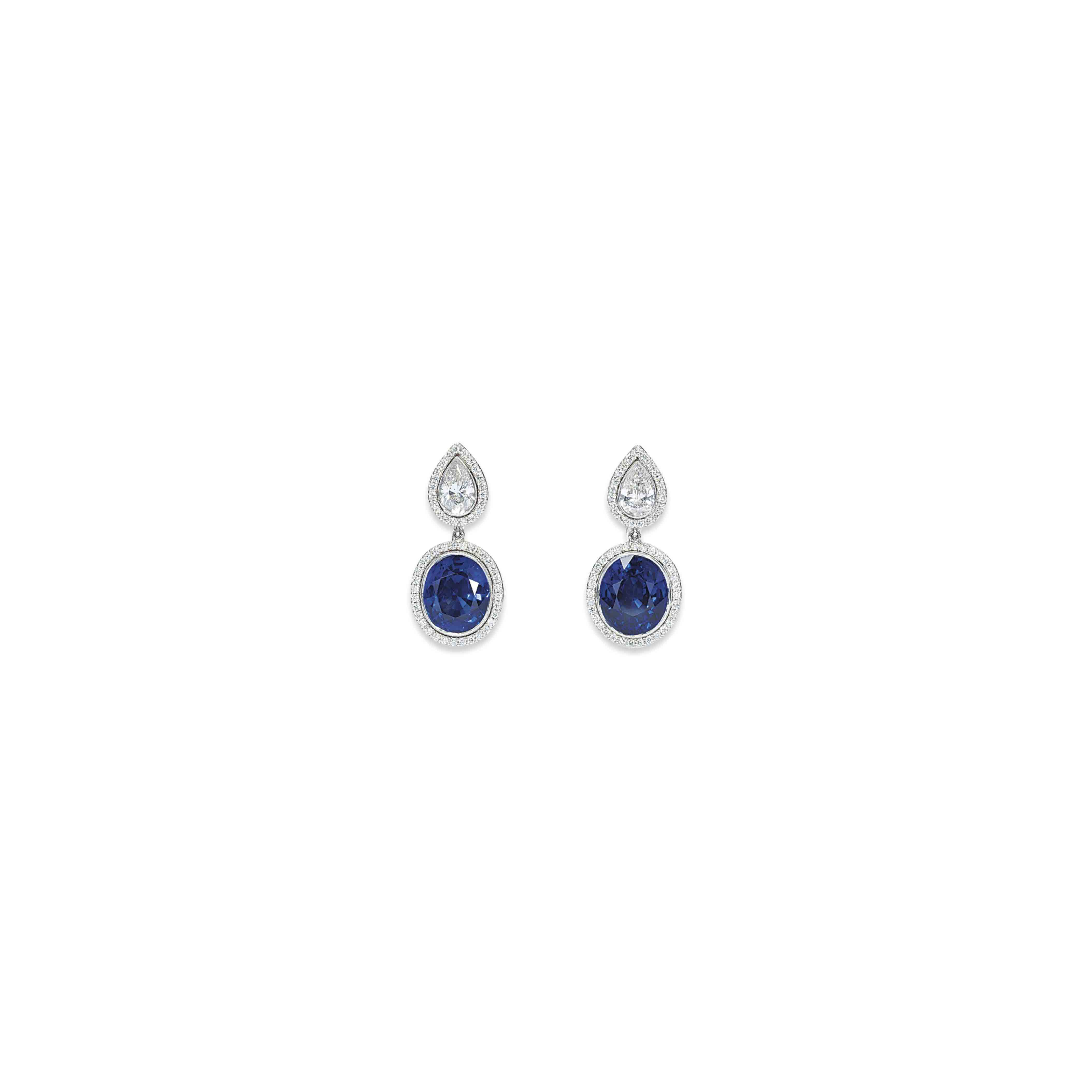 A PAIR OF SAPPHIRE AND DIAMOND EARRINGS, BY ADLER