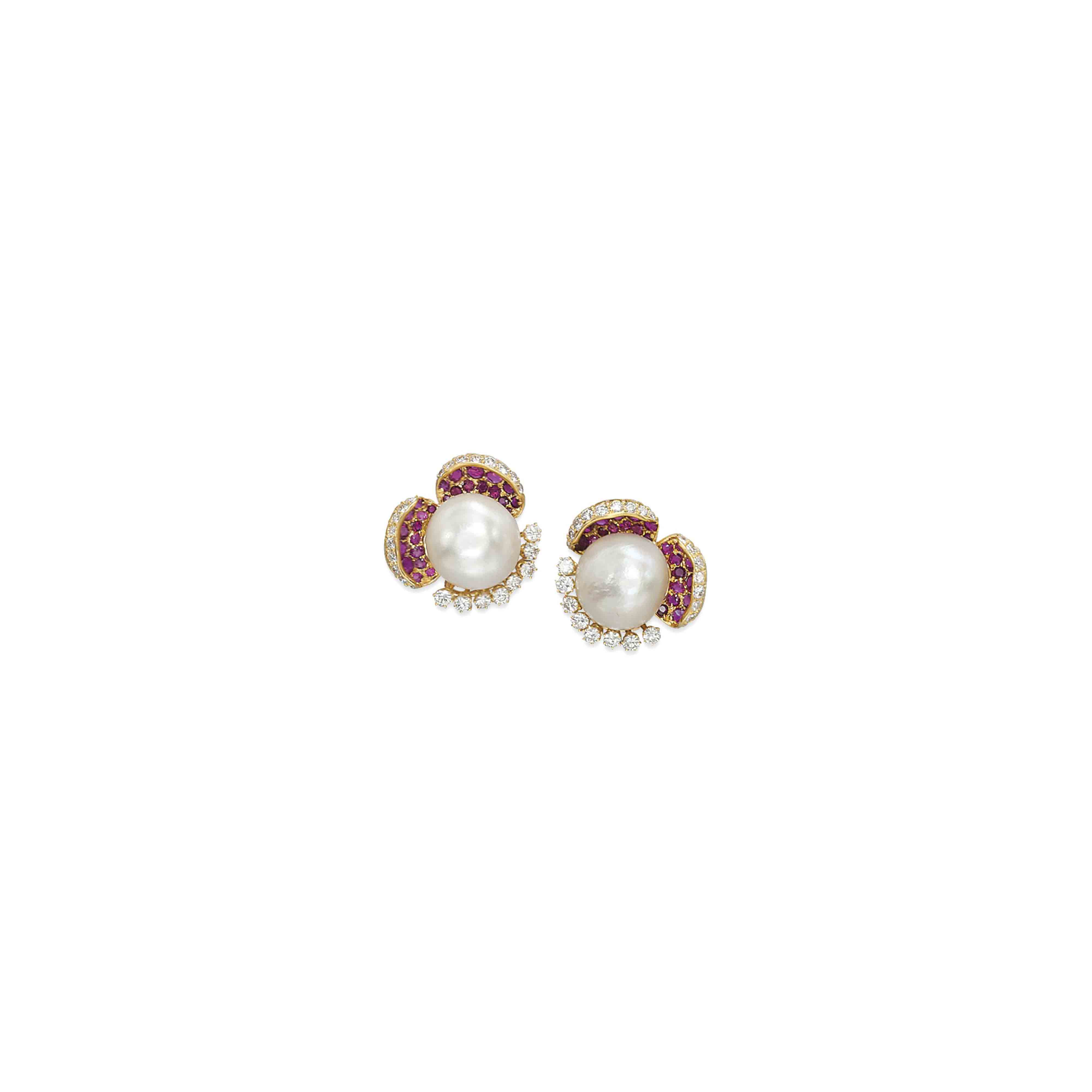 A PAIR OF PEARL, RUBY AND DIAMOND EAR CLIPS, BY LOMBARD