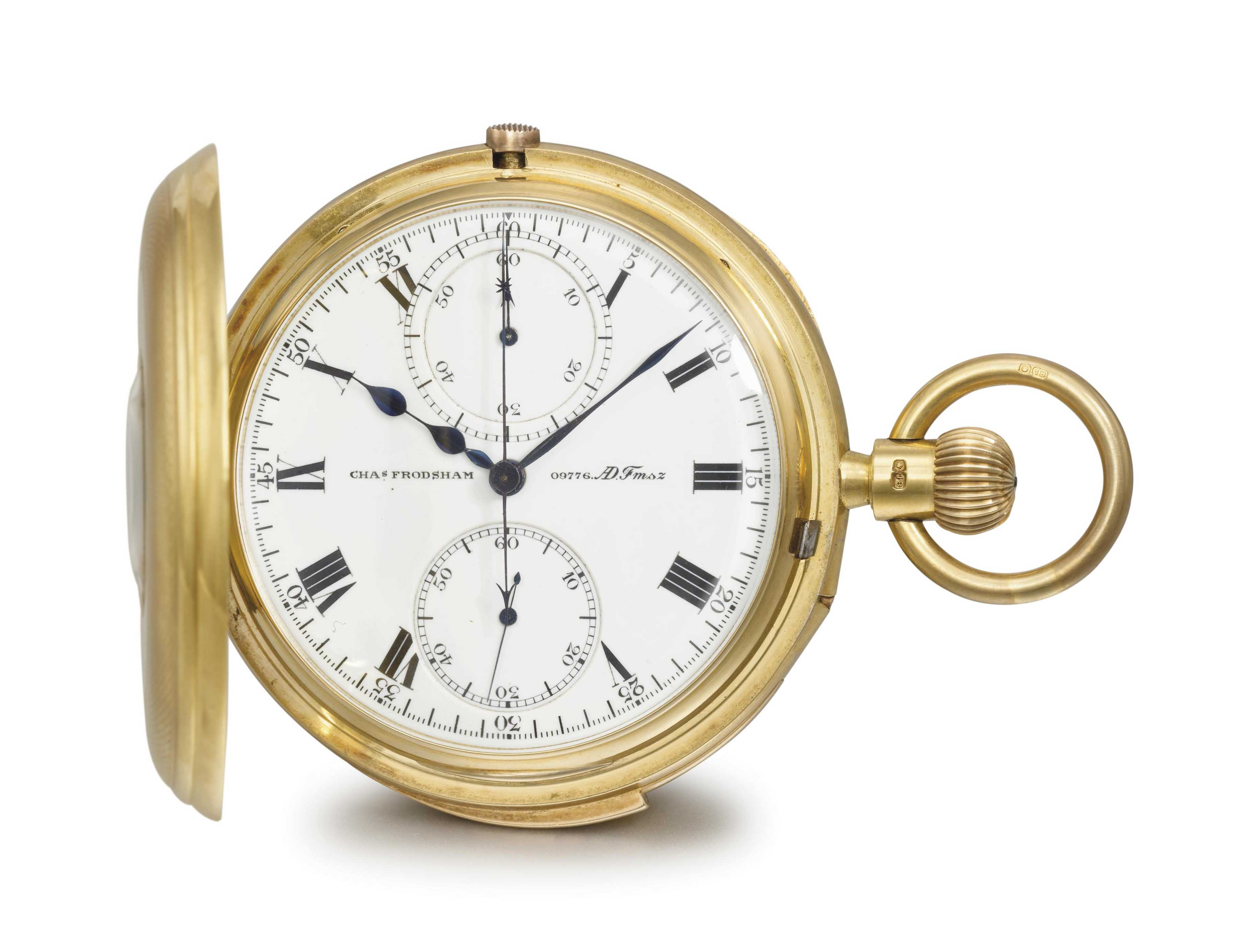 Charles Frodsham. A fine and rare 18K gold half hunter case minute repeating chronograph keyless lever watch