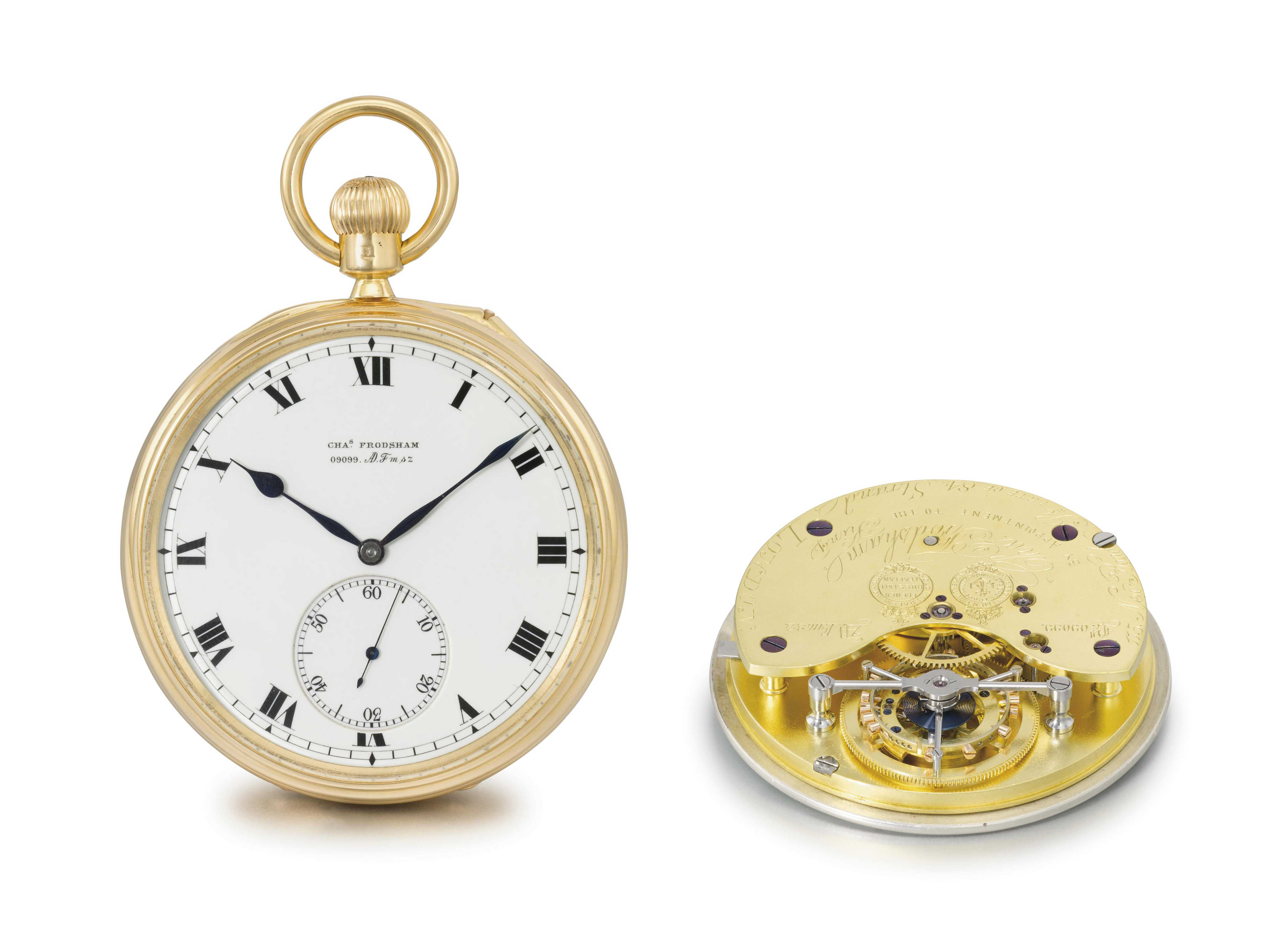 Charles Frodsham. A very fine and rare 18K gold openface six minute tourbillon keyless lever watch with Kew Observatory Certificate