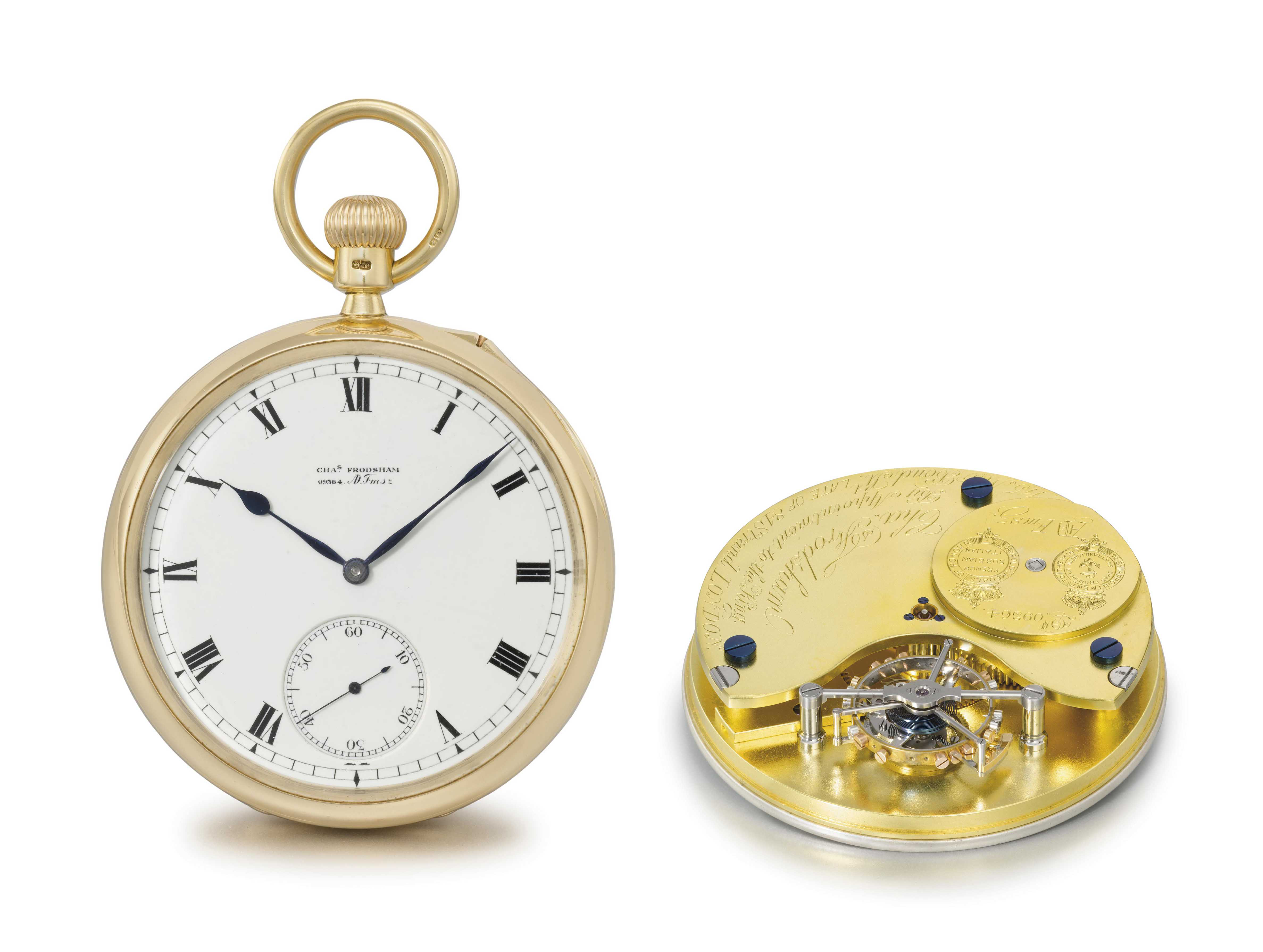 Charles Frodsham. A very fine, large and rare 18K gold openface one minute tourbillon keyless lever watch with Guillaume balance and Kew Observatory Certificate