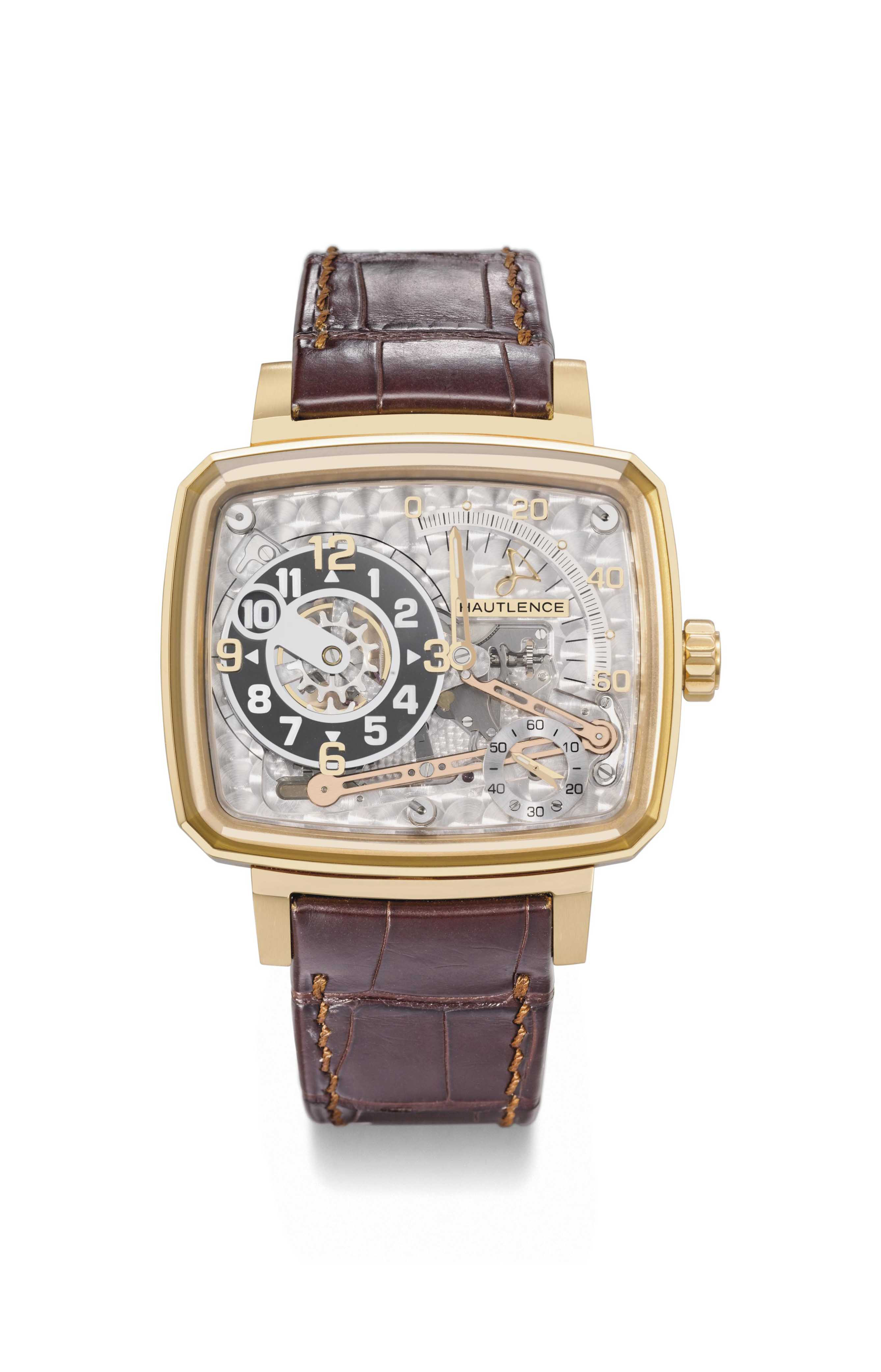 Hautlence. A large, rare and unusual 18K pink gold limited edition cushion-shaped skeletonized jump hour wristwatch with retrograde minutes