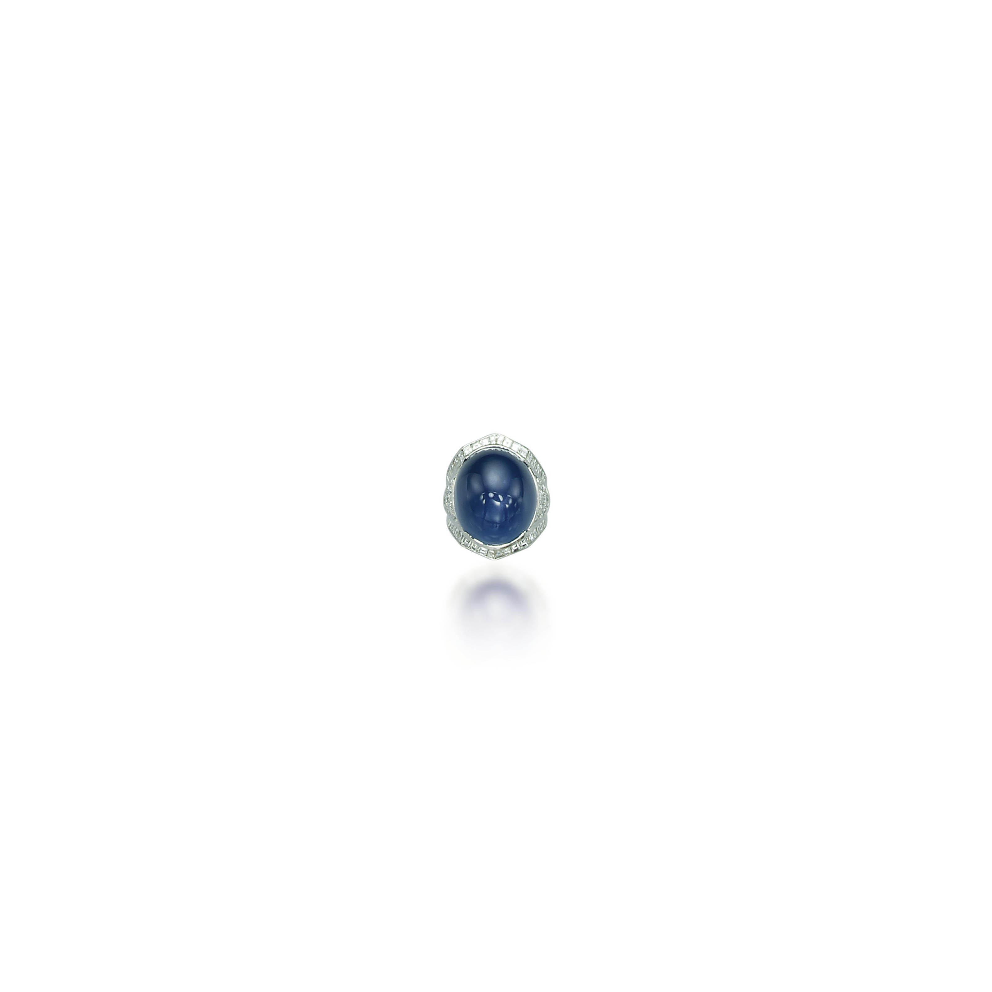 A STAR SAPPHIRE AND DIAMOND RING, BY ADLER