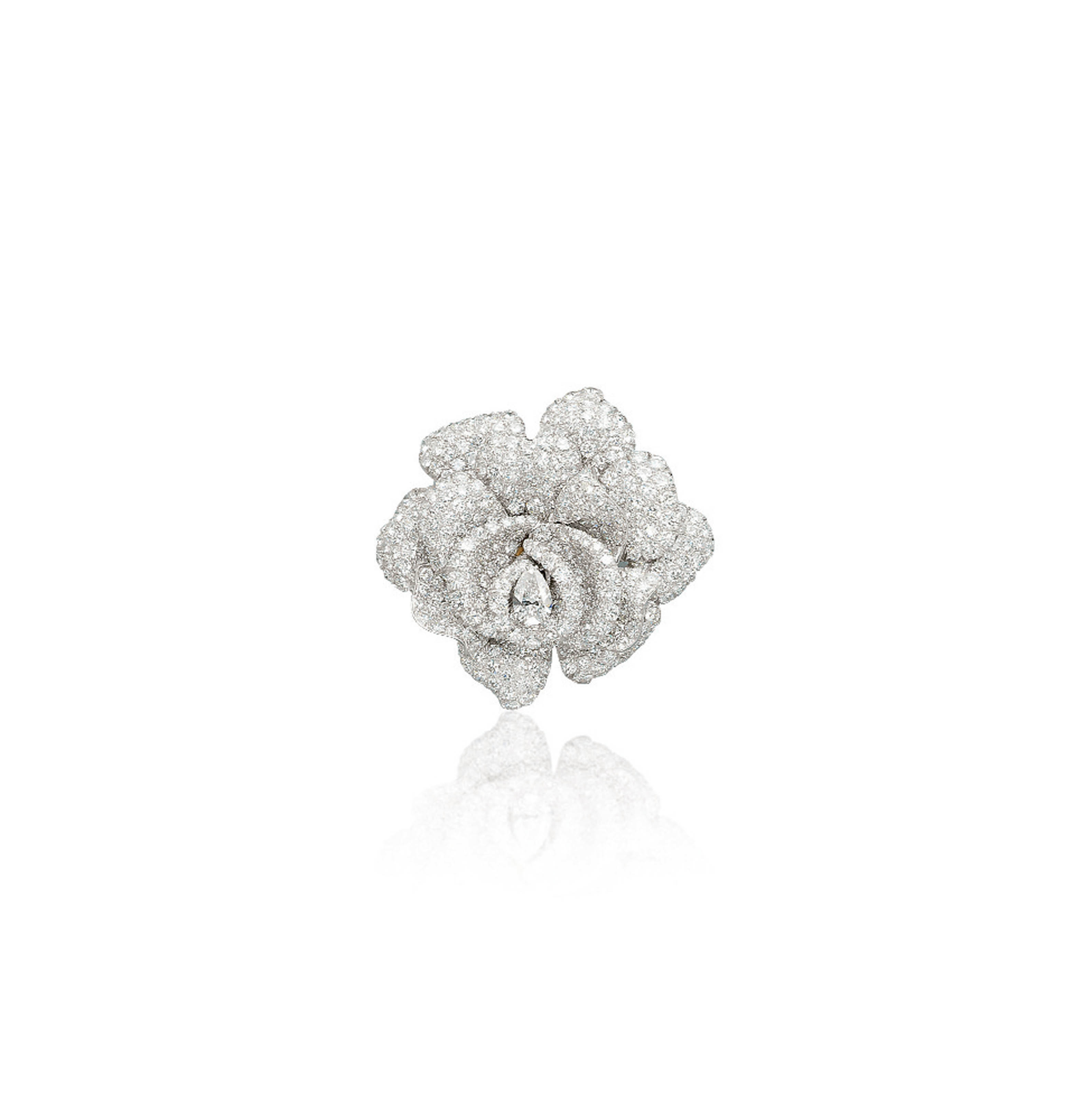 A DIAMOND FLOWER BROOCH, BY RUSER