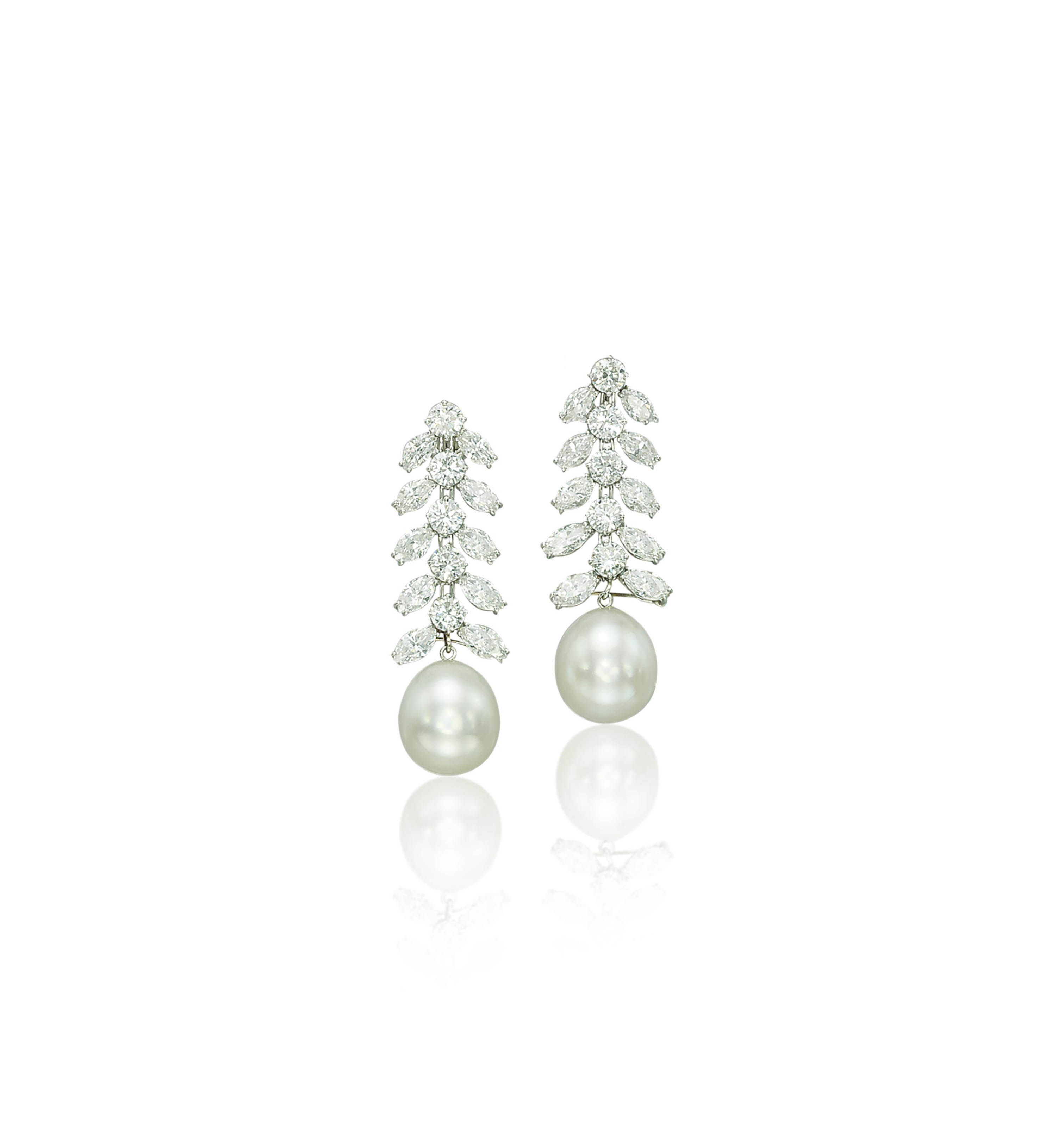 A PAIR OF CULTURED PEARL AND DIAMOND EAR PENDANTS, BY RUSER