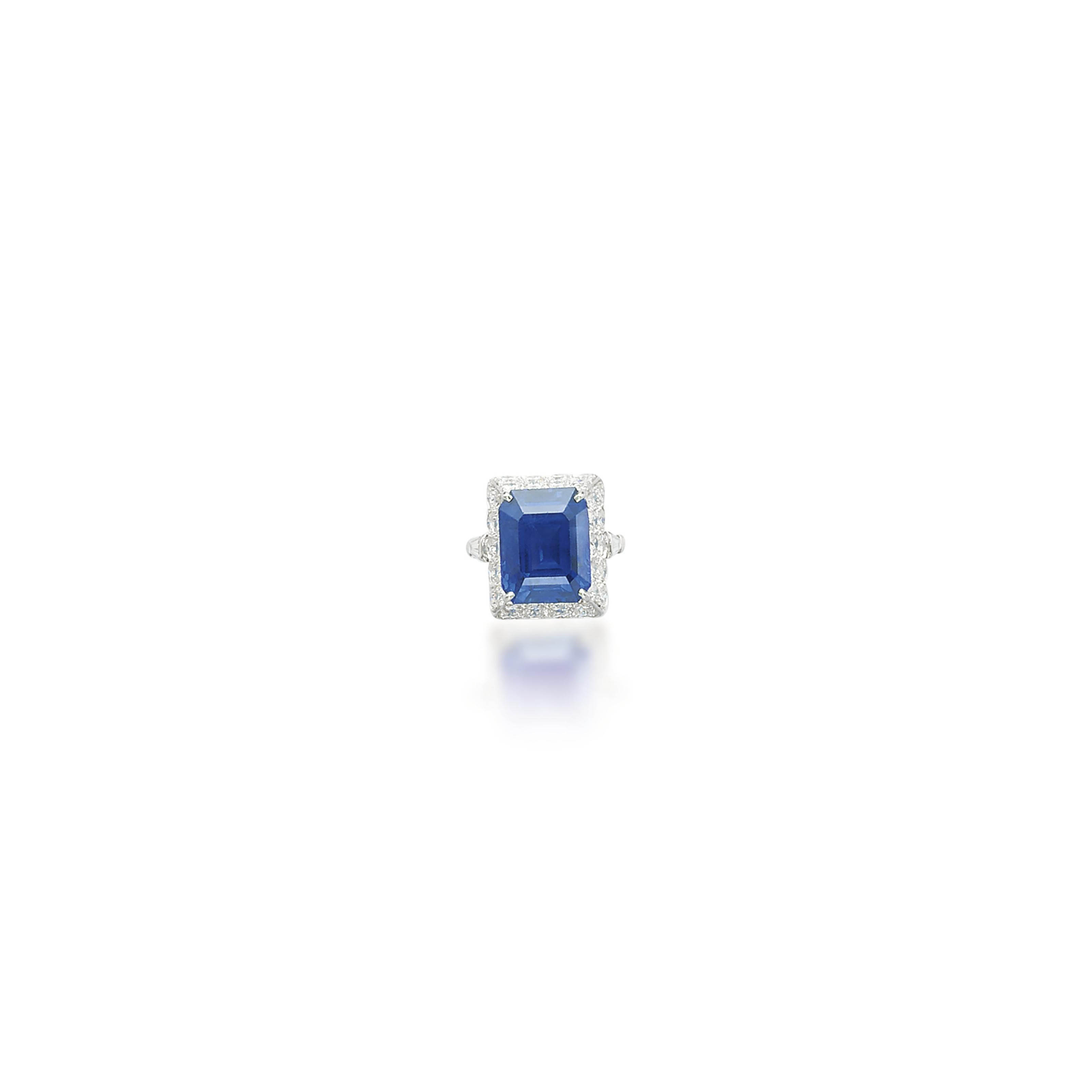 A SAPPHIRE AND DIAMOND RING, BY RUSER