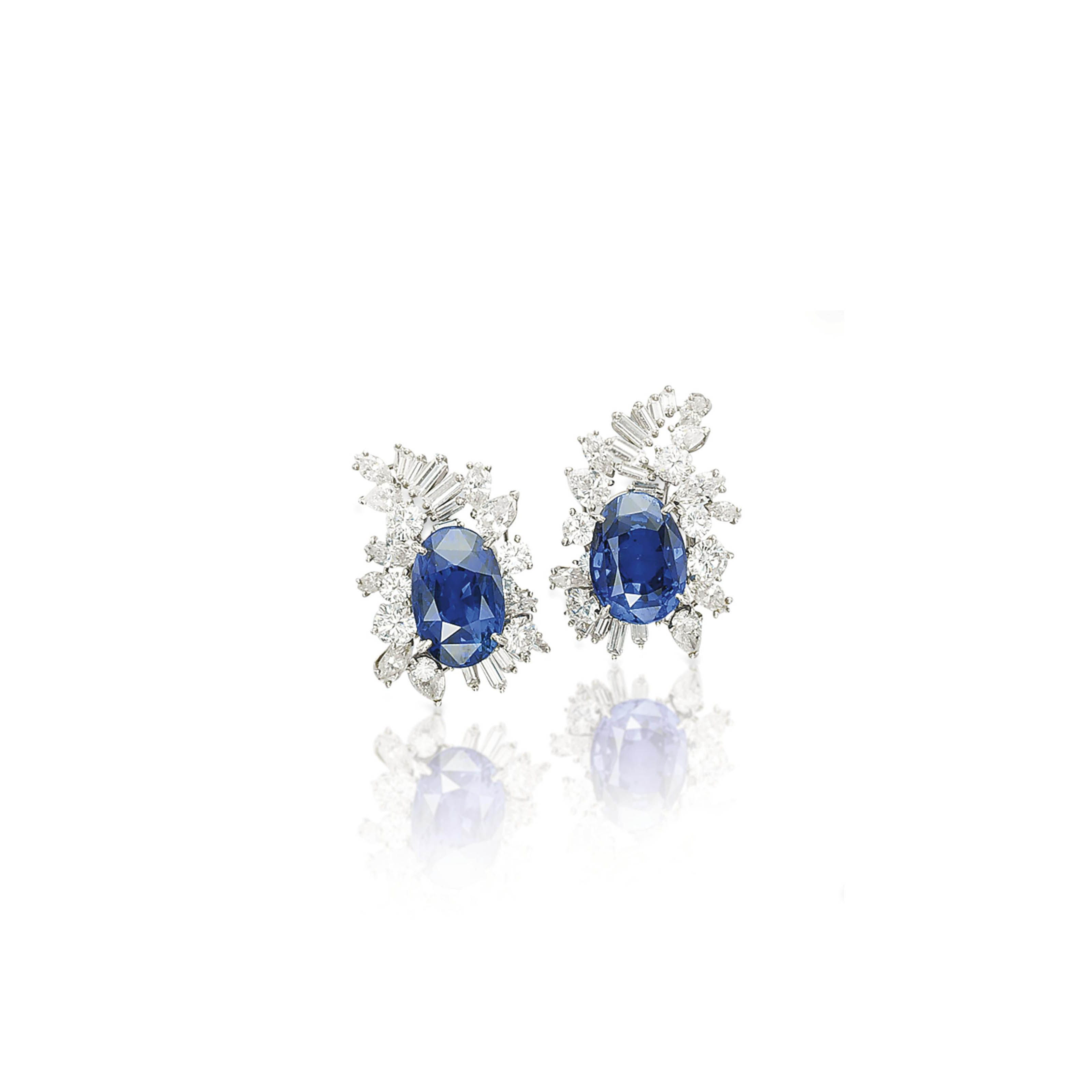 A PAIR OF SAPPHIRE AND DIAMOND EAR CLIPS, BY MEISTER