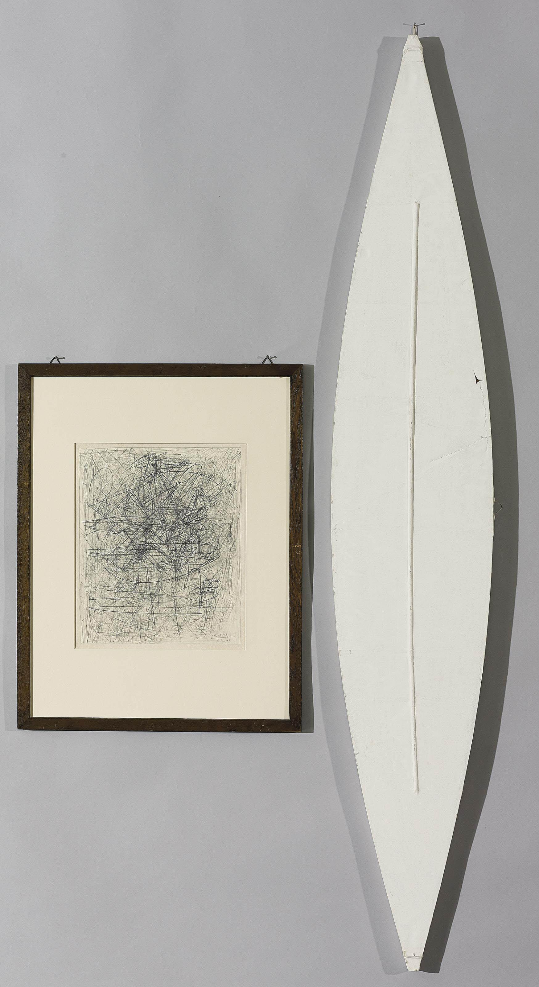 Sammelnummer von zwei Werken: Im Geiste der Renaissance, 1961  Bespannte Zweieckform, 1969