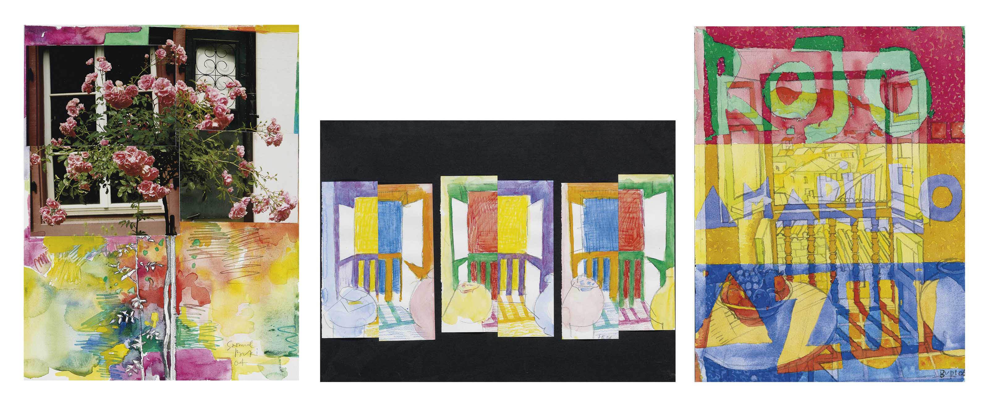 Sammelnummer von drei Werken: Rosenbäumchen, 2004  Drei Fenster auf schwarzem Grund, 2006  Rojo-Amarillo-Azul, 2006