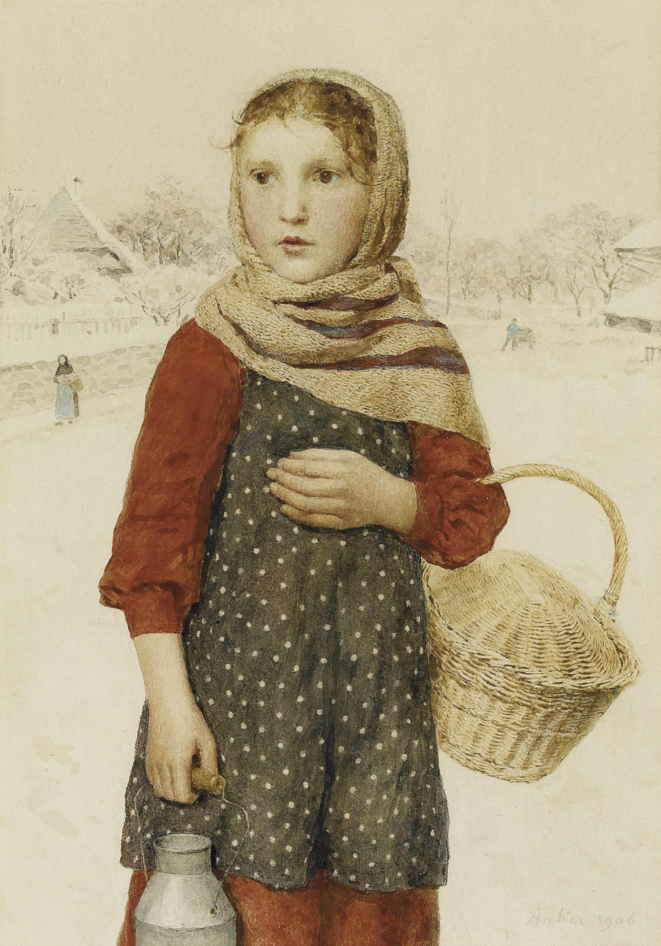 Mädchen in Winterlandschaft, 1906