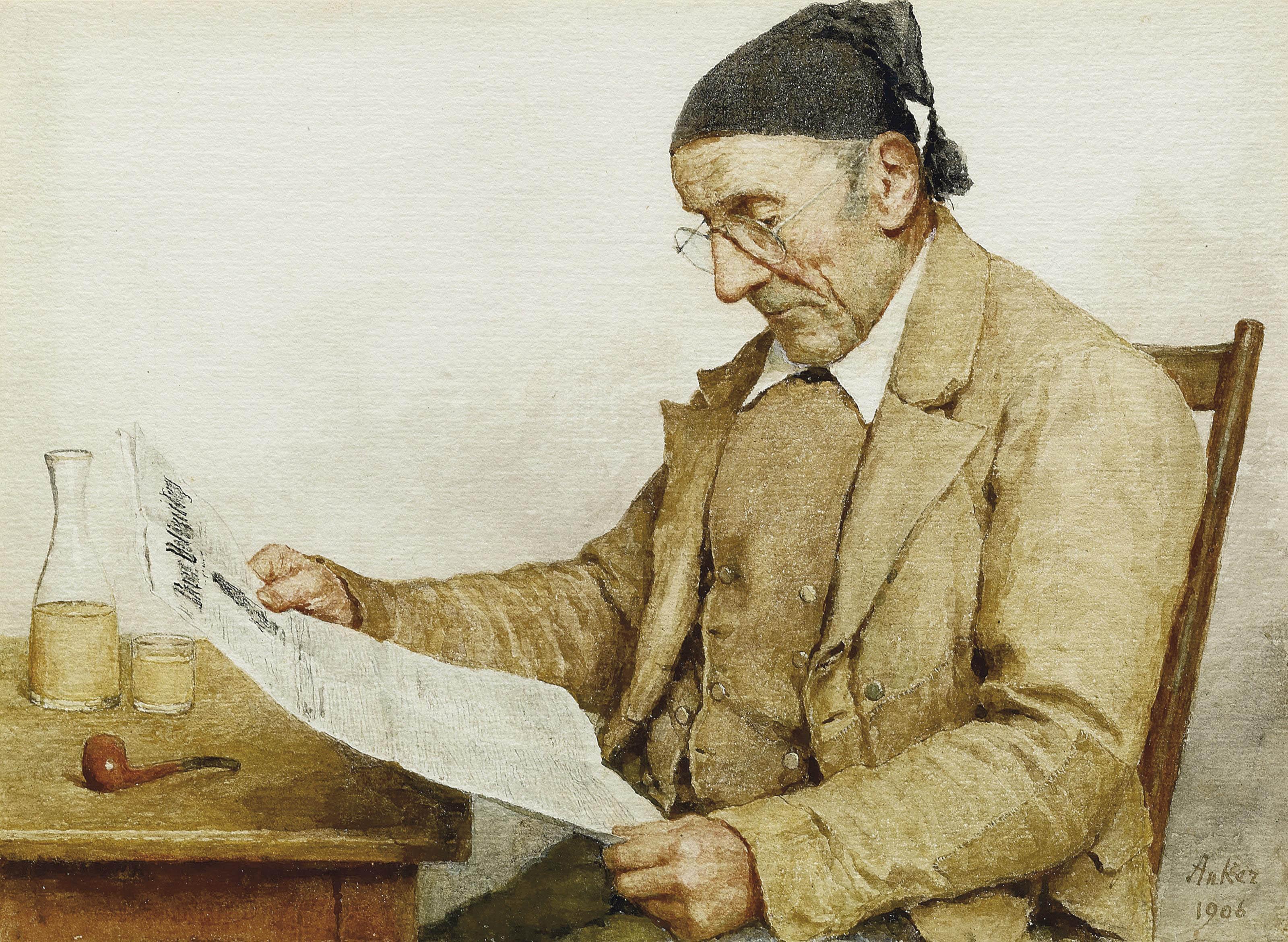 Grossvater mit Zeitung, 1906