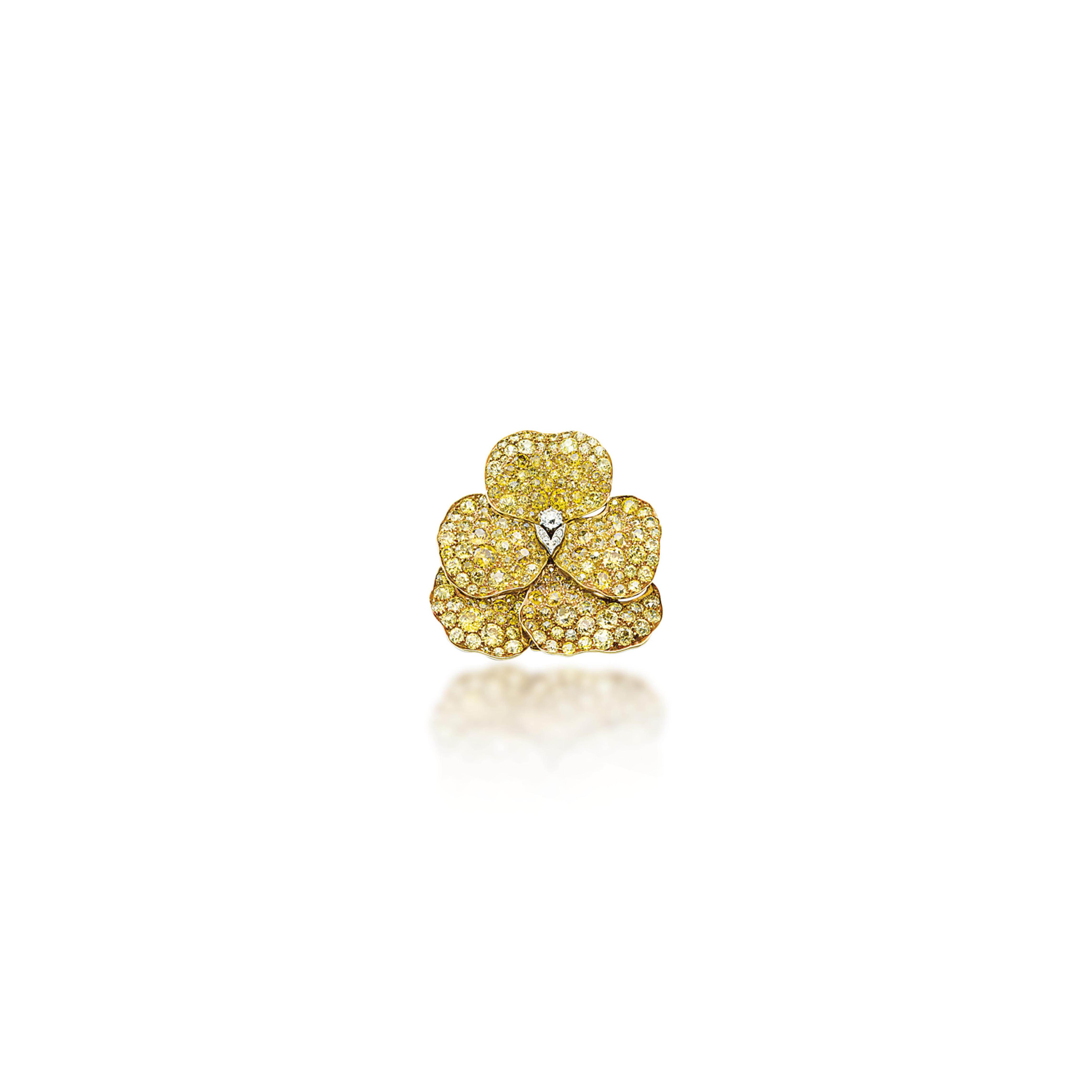 A COLOURED DIAMOND FLOWER BROOCH, BY MARCUS & CO.