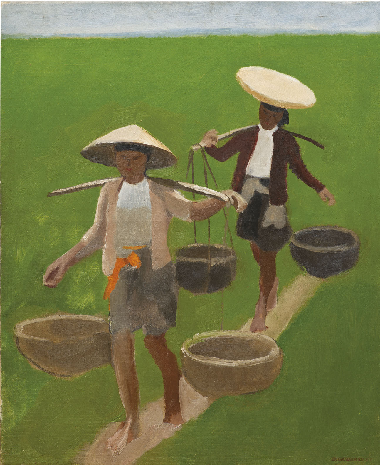 Workers in the rice field