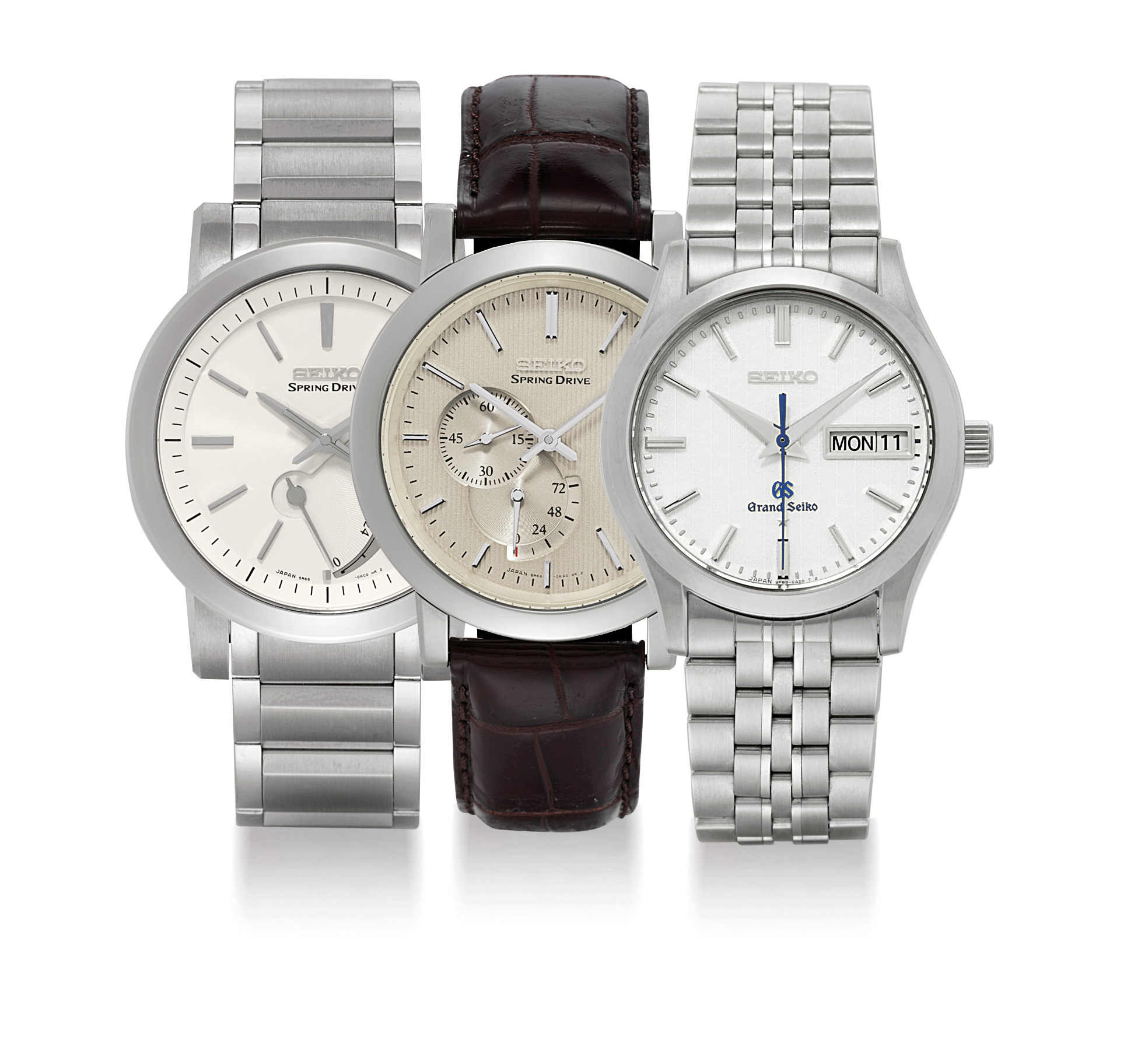 SEIKO. A LOT OF THREE STAINLESS STEEL WRISTWATCHES