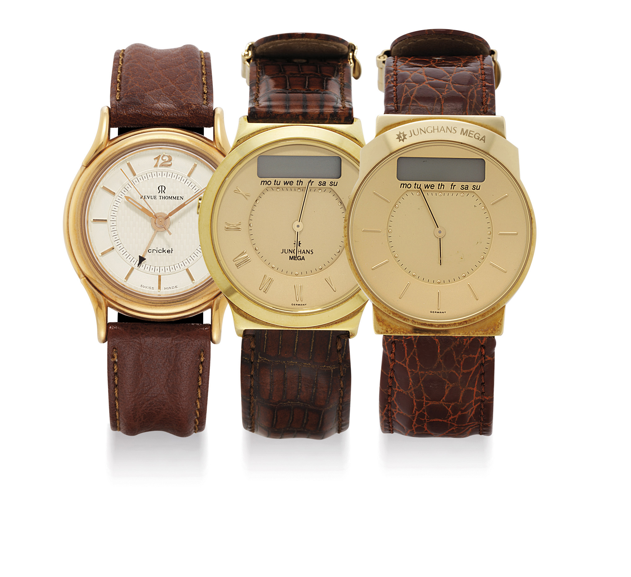 JUNGHANS AND REVUE THOMMEN. A LOT OF THREE WRISTWATCHES