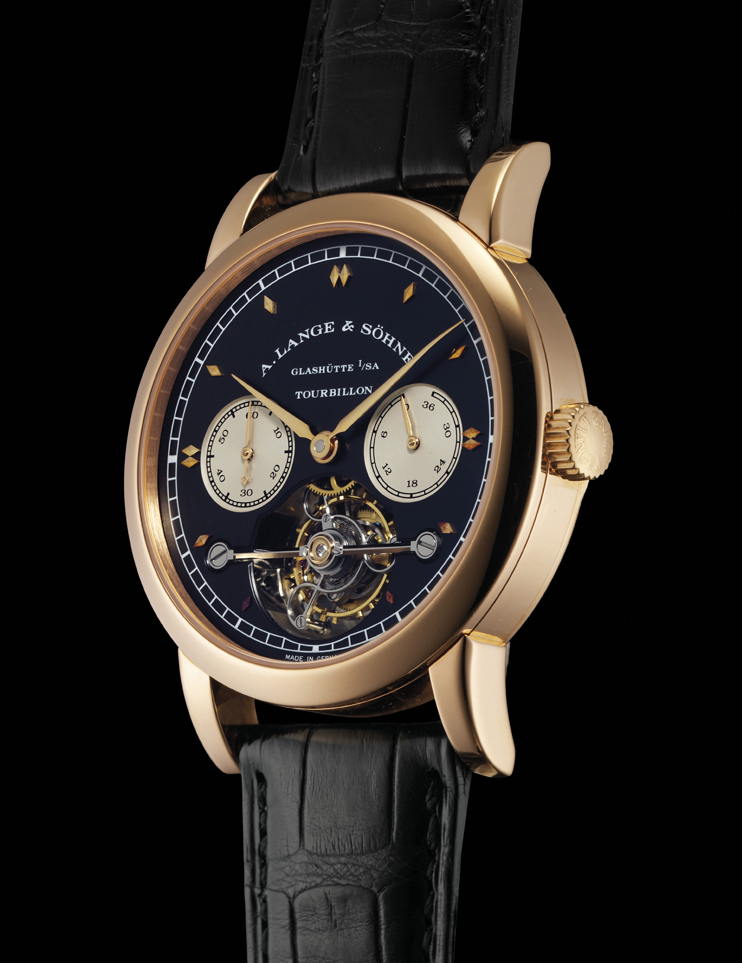 A. LANGE & SÖHNE. A VERY RARE AND FINE 18K PINK GOLD LIMITED EDITION TOURBILLON WRISTWATCH WITH CHAIN FUSÉE, POWER RESERVE AND BLACK DIAL